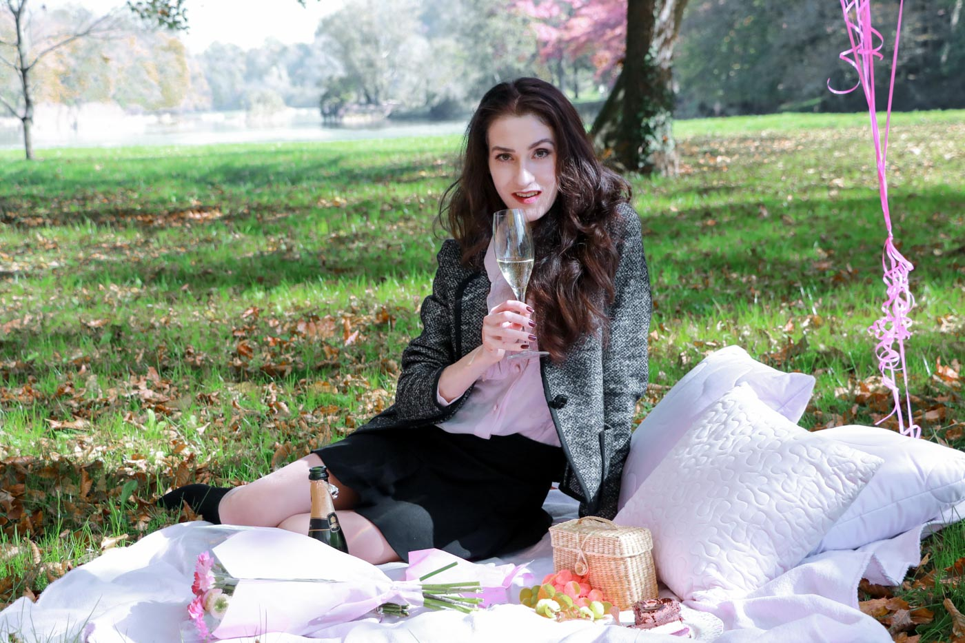 Fashion Blogger Veronika Lipar of Brunette from Wall Street having a moet moment to celebrate her birthday this October