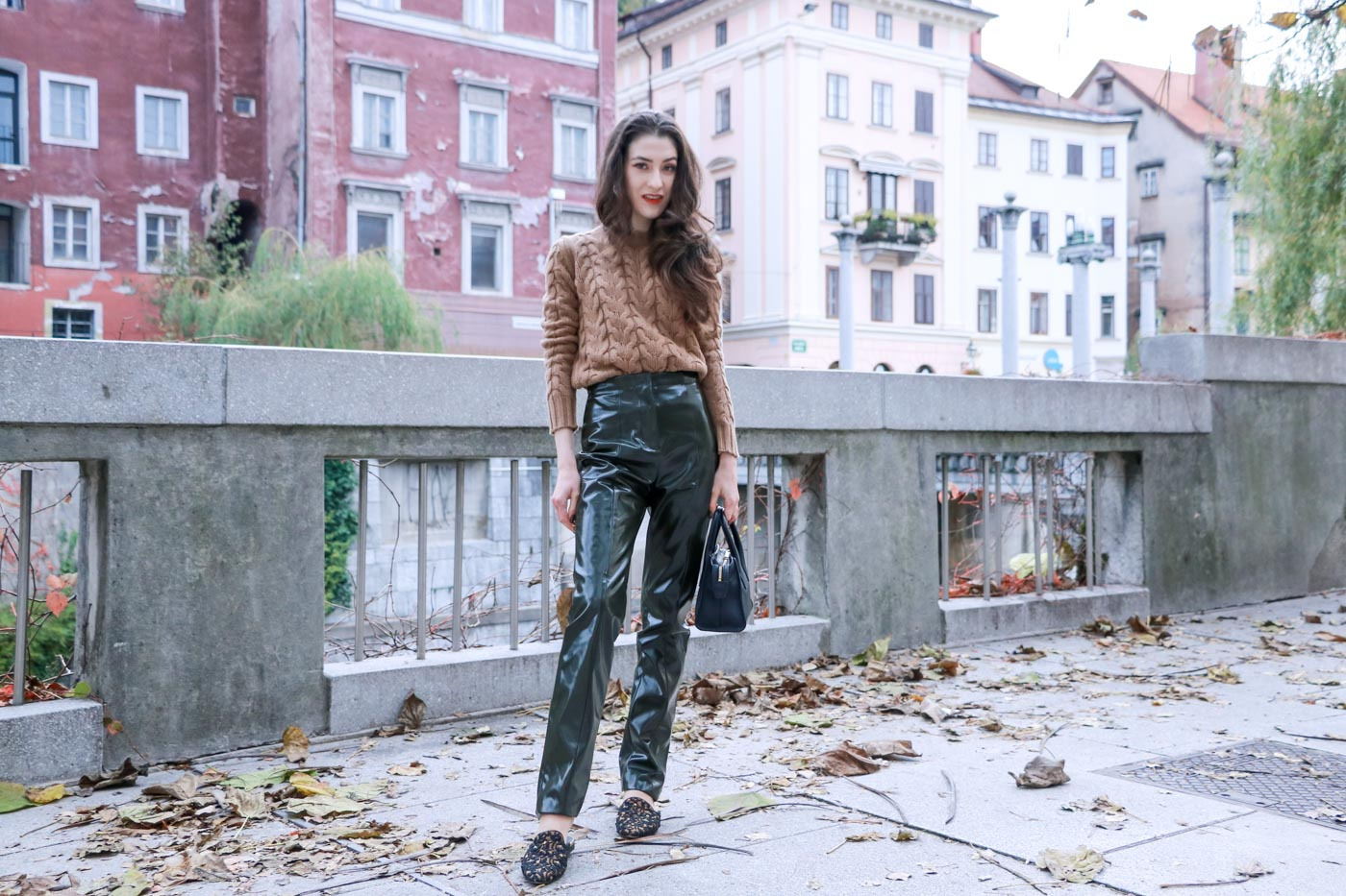 Fashion Blogger Veronika Lipar of Brunette from Wall Street on how to wear high waisted high-shine vinyl pants and cashmere and wool cable knit sweater