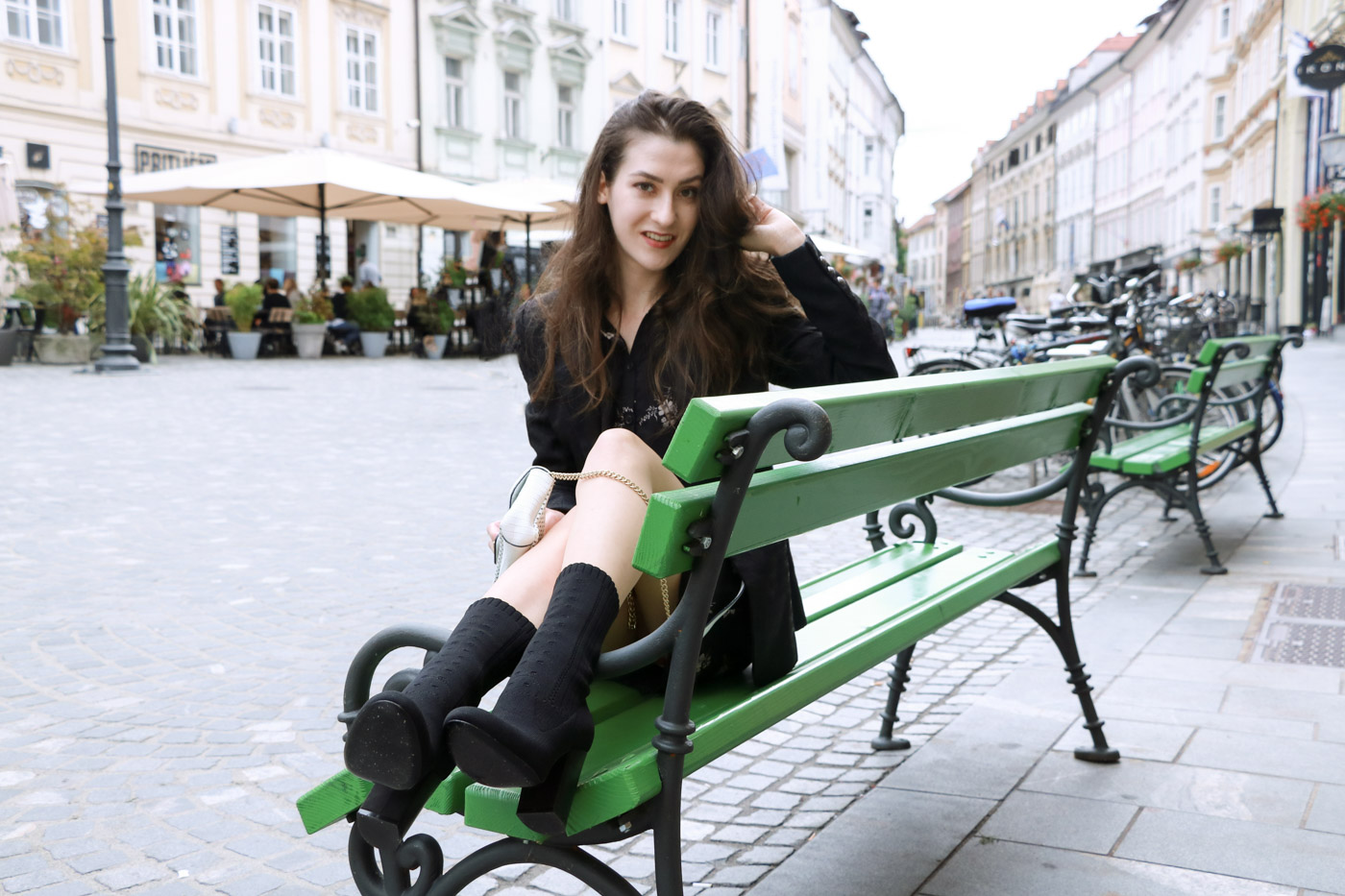 Fashion Blogger Veronika Lipar of Brunette from Wall wearing chic Friday outfit the morning to evening