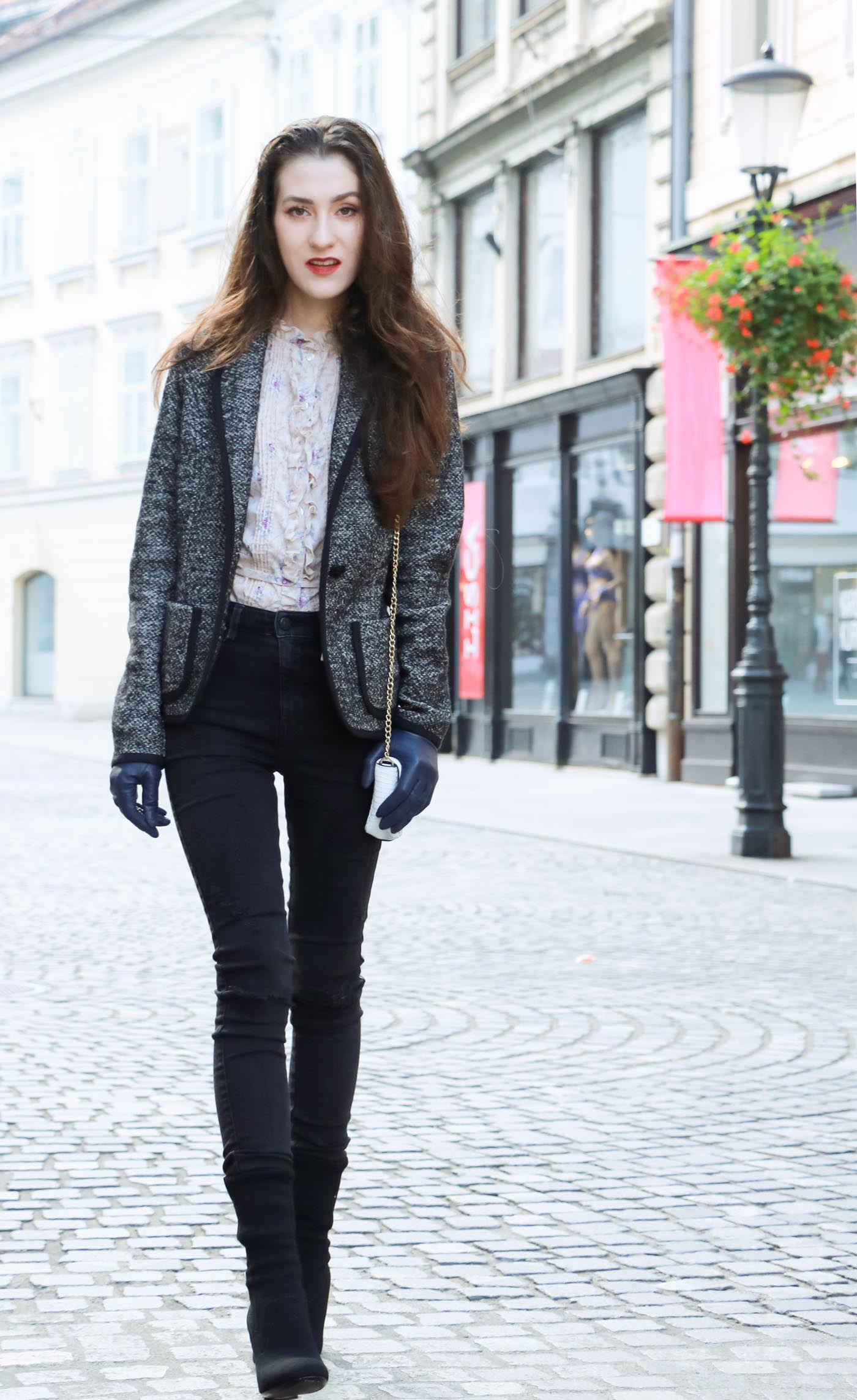 Fashion Blogger Veronika Lipar of Brunette from Wall on casual black and white street style to wear this winter