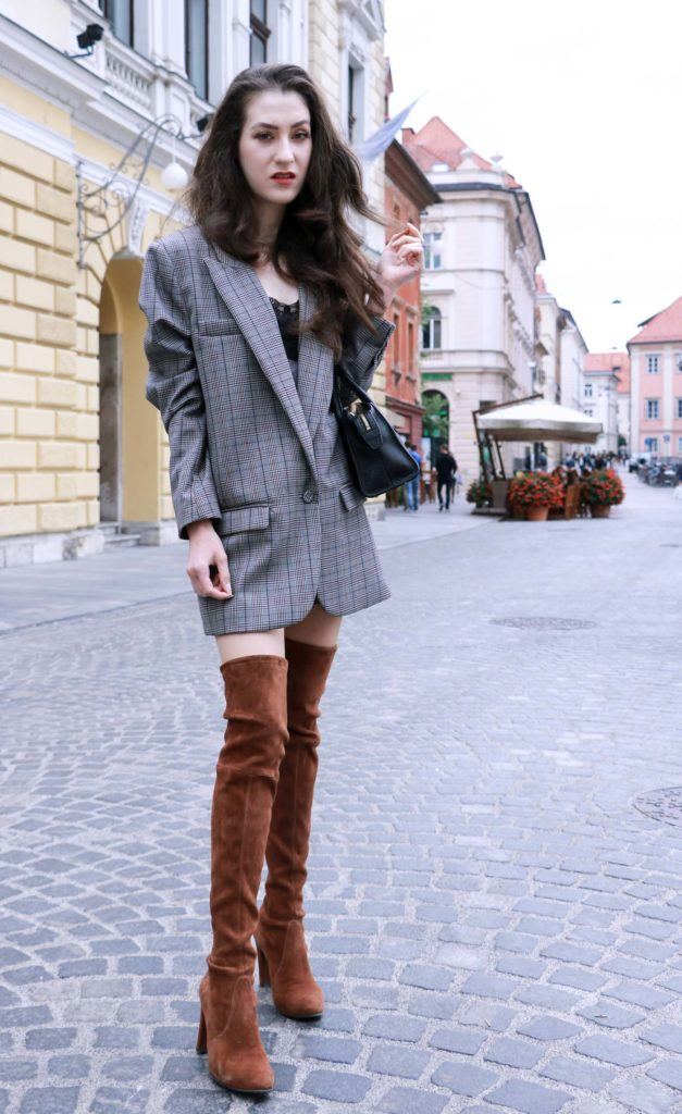 Fashion Blogger Veronika Lipar of Brunette from Wall wearing brown Stuart Weitzman over the knee boots, and oversized boyfriend blazer like a dress