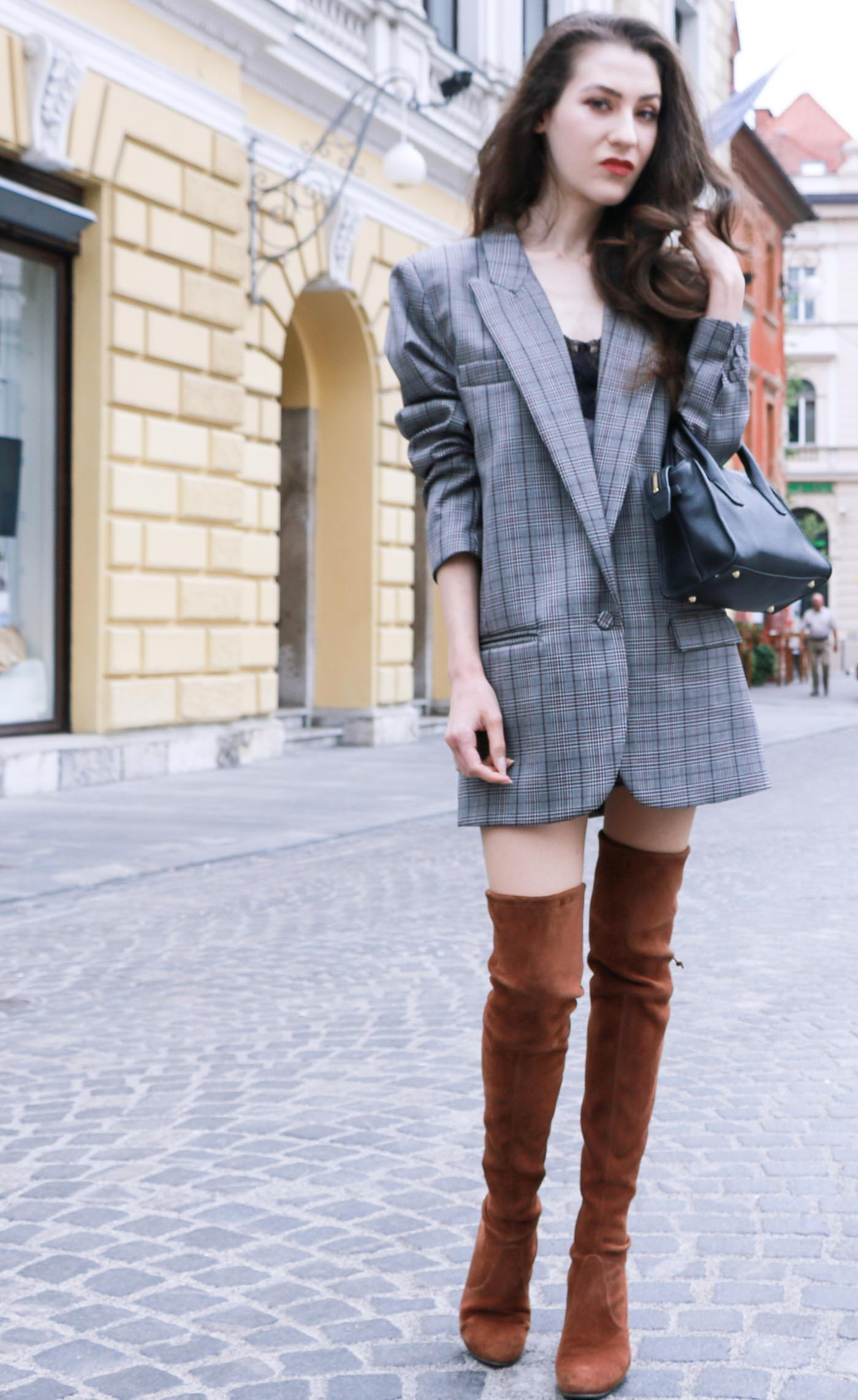 Fashion Blogger Veronika Lipar of Brunette from Wall wearing brown Stuart Weitzman over the knee boots, and oversized boyfriend blazer as a dress