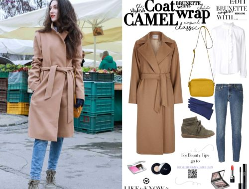 Fashion Blogger Veronika Lipar of Brunette from Wall Street on how to style wrap wool camel coat