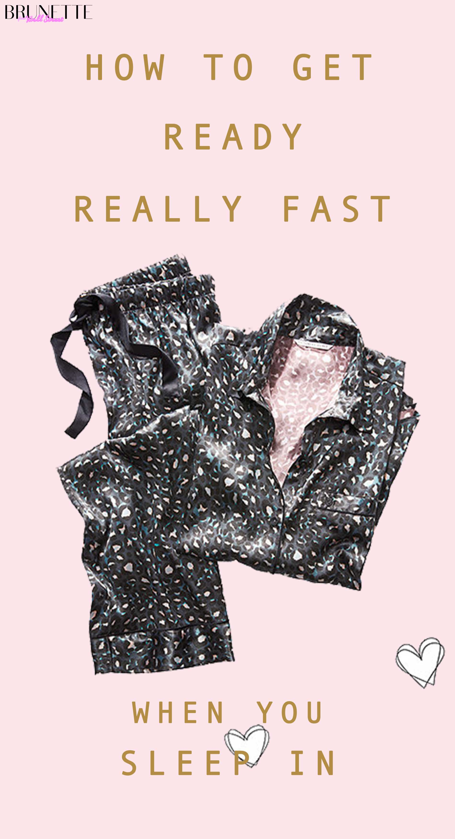 Victoria's Secret black star print pyjamas with text overlay How to get dressed really fast when you sleep in