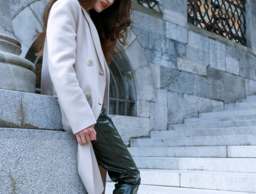 Fashion Blogger Veronika Lipar of Brunette from Wall Street on how to wear vinyl-pants for office