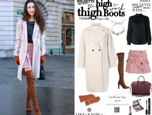 Fashion Blogger Veronika Lipar of Brunette from Wall Street on how to wear otk boots for work