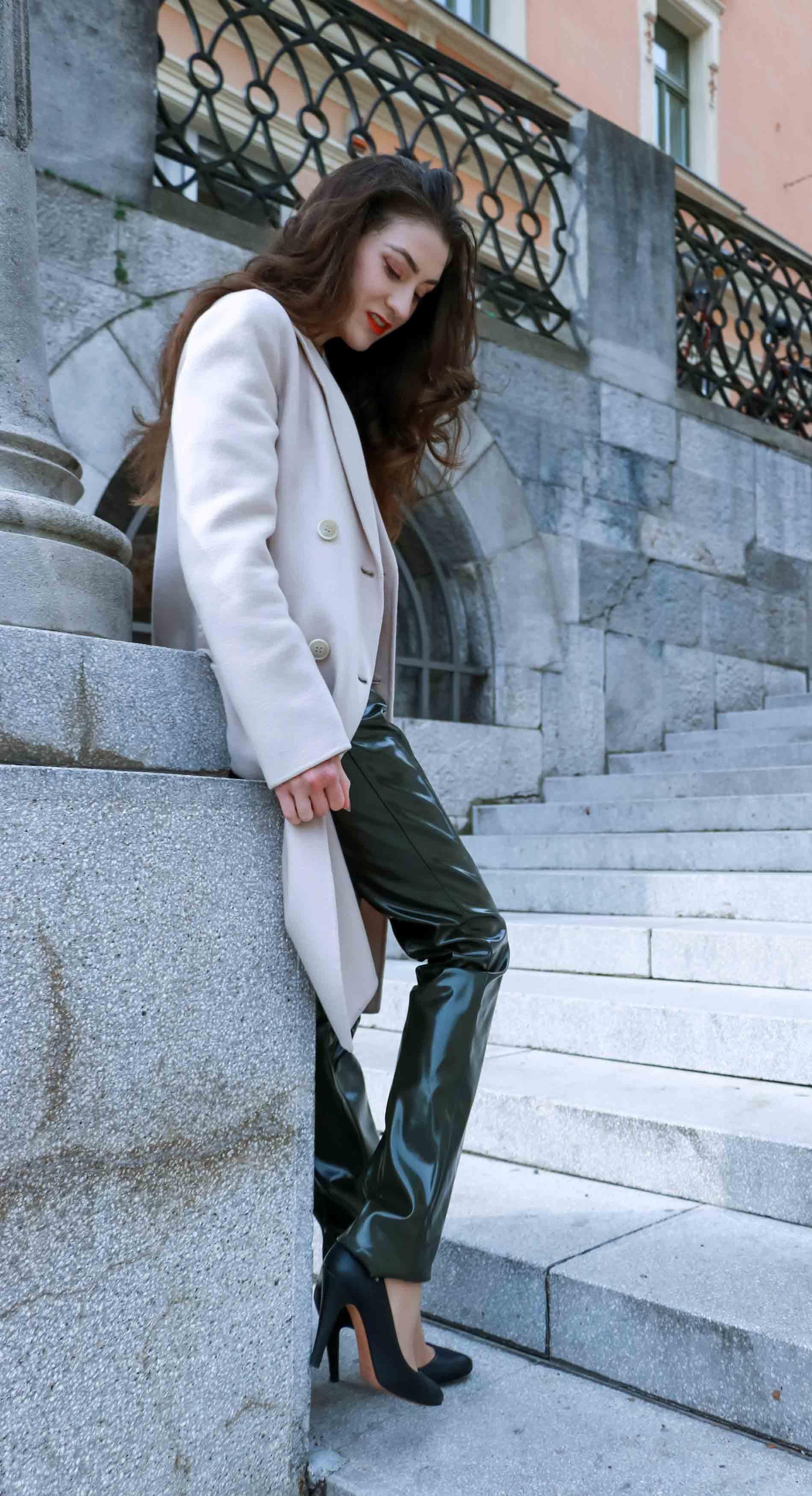 Fashion Blogger Veronika Lipar of Brunette from Wall Street on how to wear vinyl-pants for work