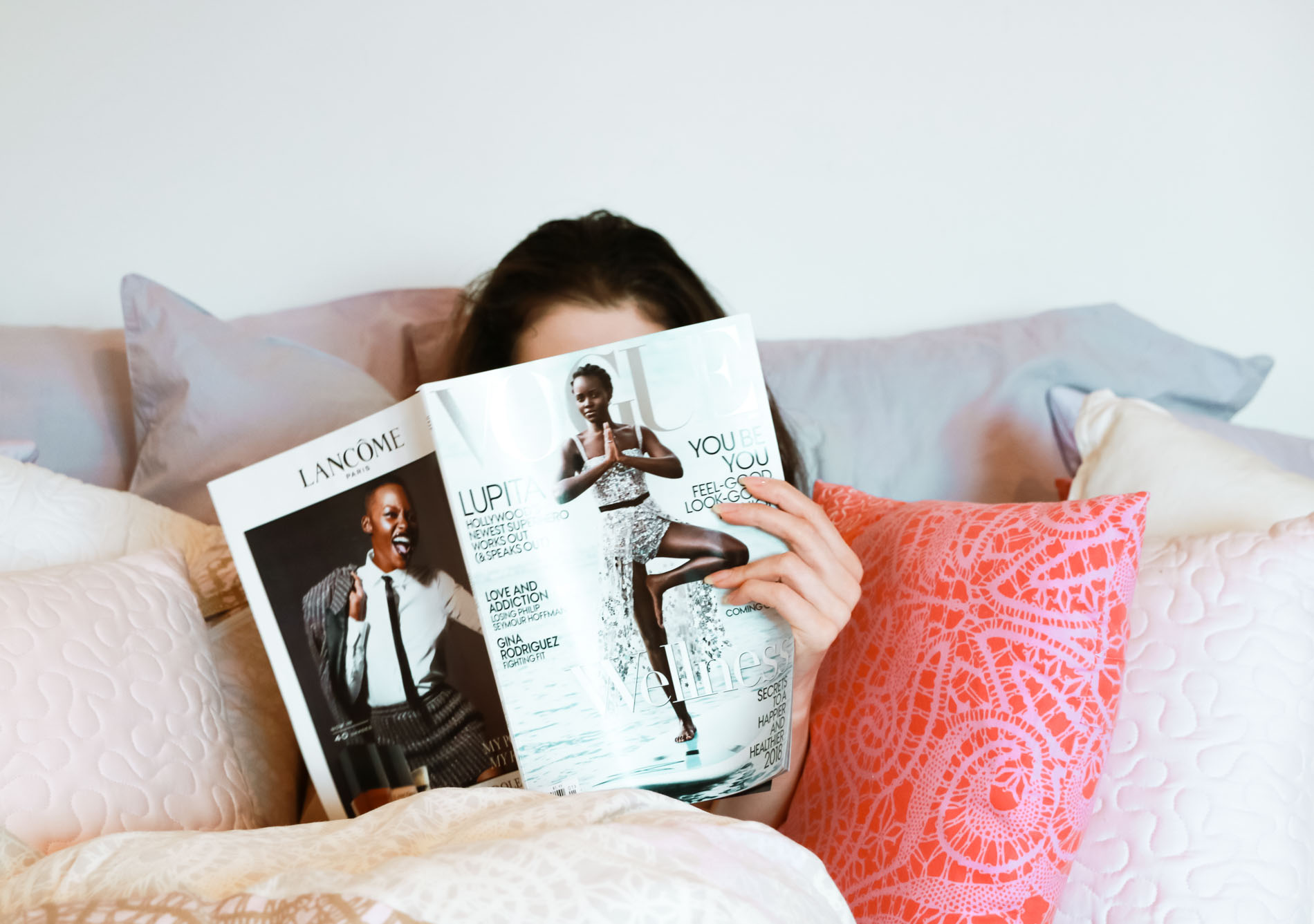 Fashion Blogger Veronika Lipar of Brunette from Wall Street reading Vogue magazine Lupita Kongo cover