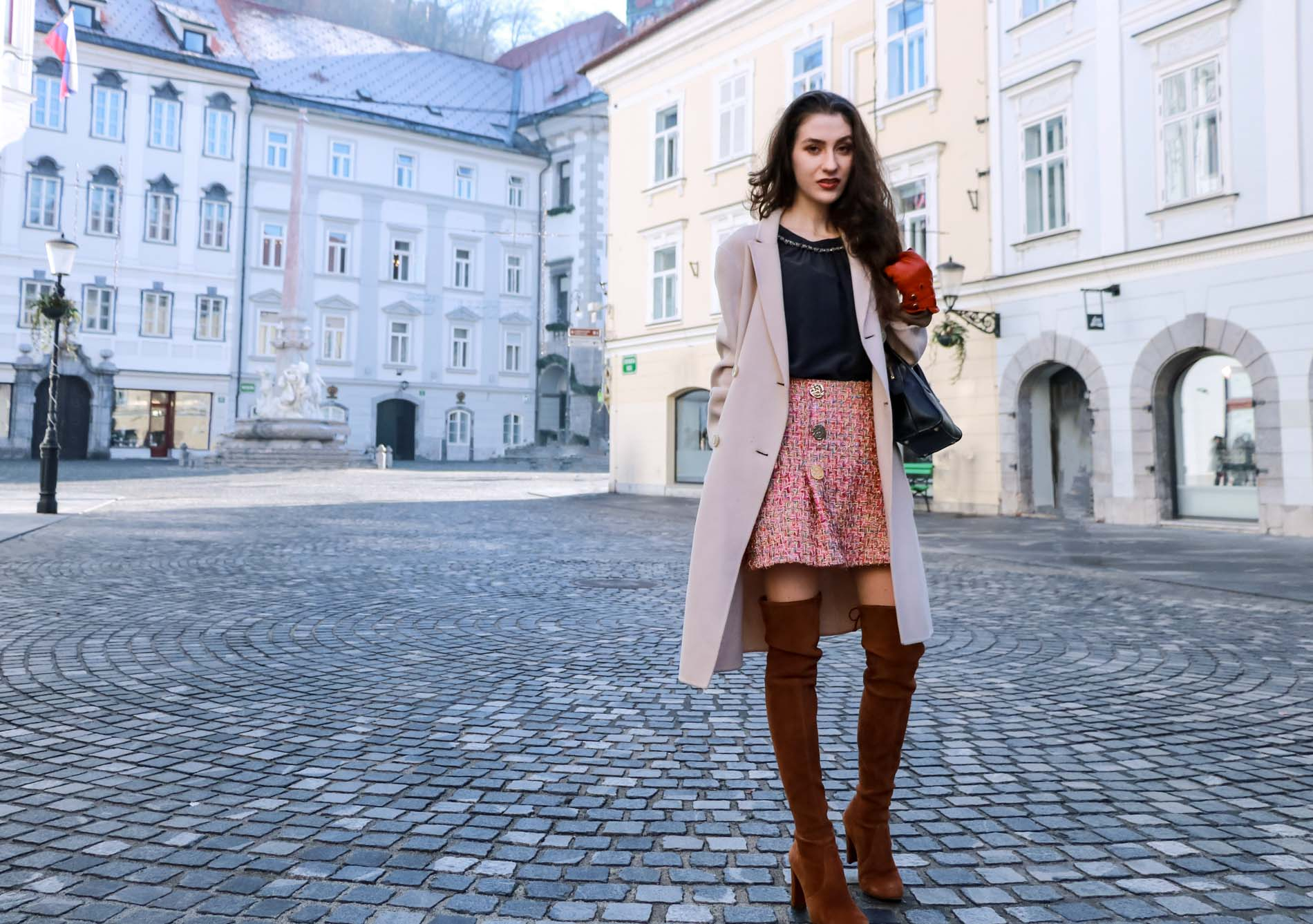 Fashion Blogger Veronika Lipar of Brunette from Wall Street wearing Storets pink tweed mini skirt, double breasted ivory coat from Weekend Maxmara, black silk blouse from Juicy couture, small black top handle bag, Stuart Weitzman chestnut over the knee boots from this winter