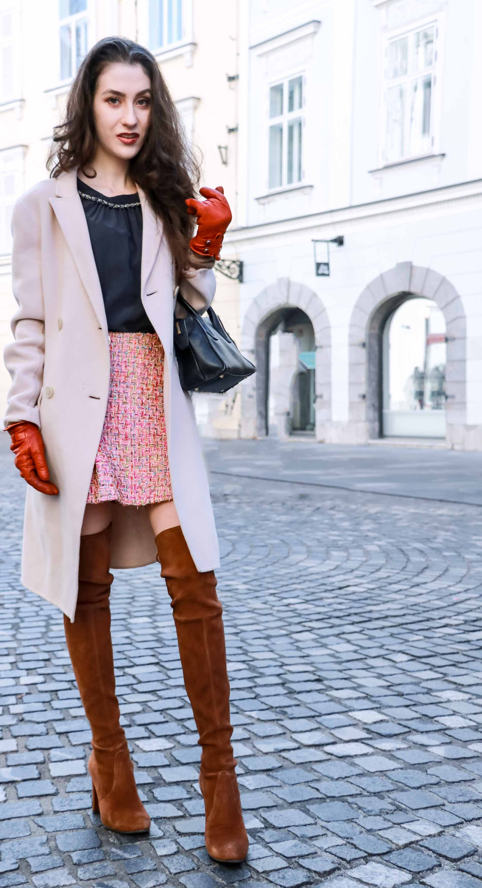 Fashion Blogger Veronika Lipar of Brunette from Wall Street wearing Storets pink tweed mini skirt, double breasted ivory coat from Weekend Maxmara, black silk blouse from Juicy couture, small black top handle bag, Stuart Weitzman brown OTK boots this winter