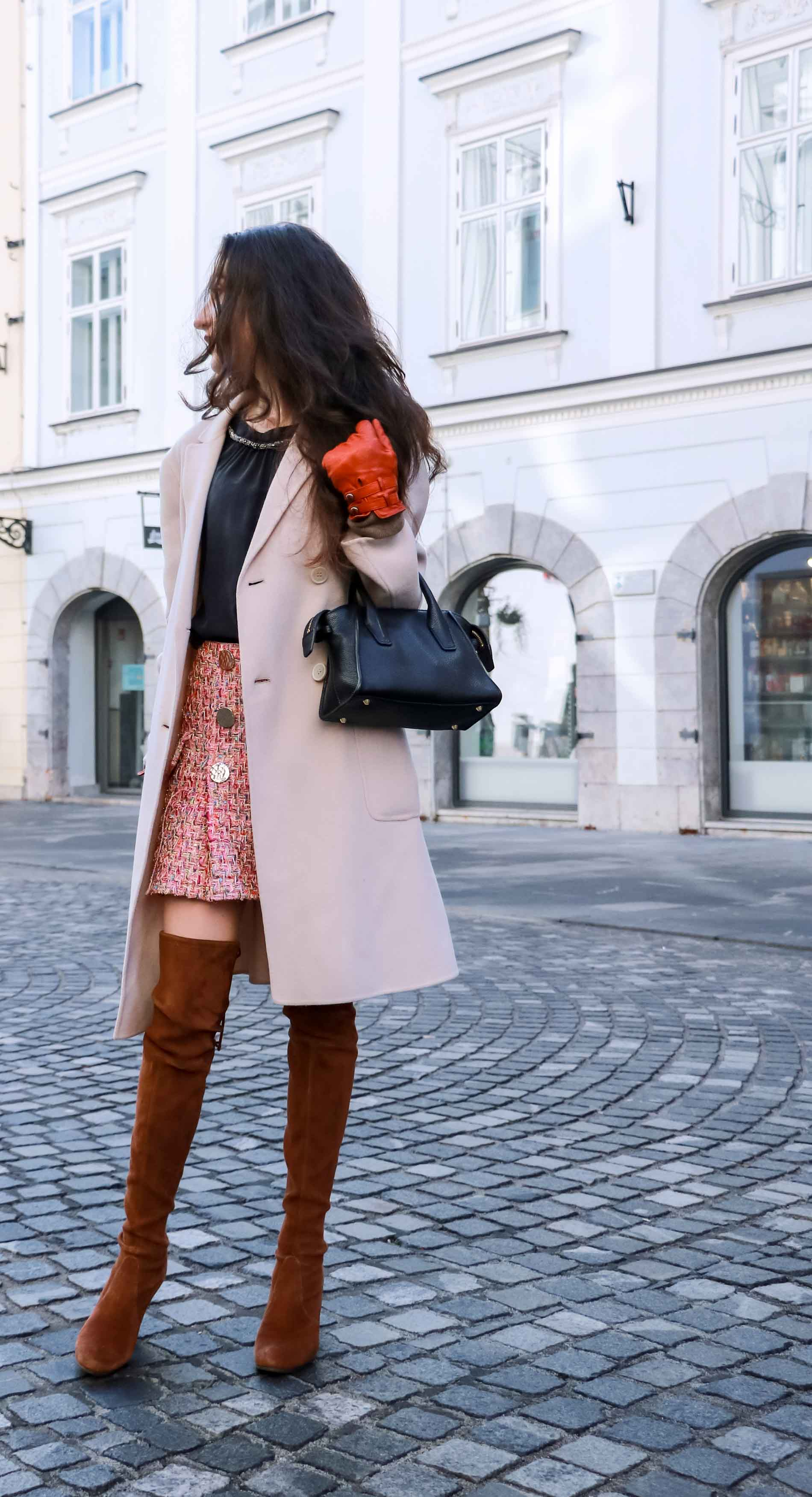 Fashion Blogger Veronika Lipar of Brunette from Wall Street wearing Storets pink tweed mini skirt, double breasted ivory coat from Weekend Maxmara, black silk blouse from Juicy couture, small black top handle bag, Stuart Weitzman brown over the knee boots this winter