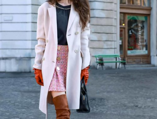Fashion Blogger Veronika Lipar of Brunette from Wall Street wearing Storets pink tweed mini skirt, double breasted ivory coat from Weekend Maxmara, black silk blouse from Juicy couture, small black top handle bag, chestnut over the knee boots from Stuart Weitzman this winter