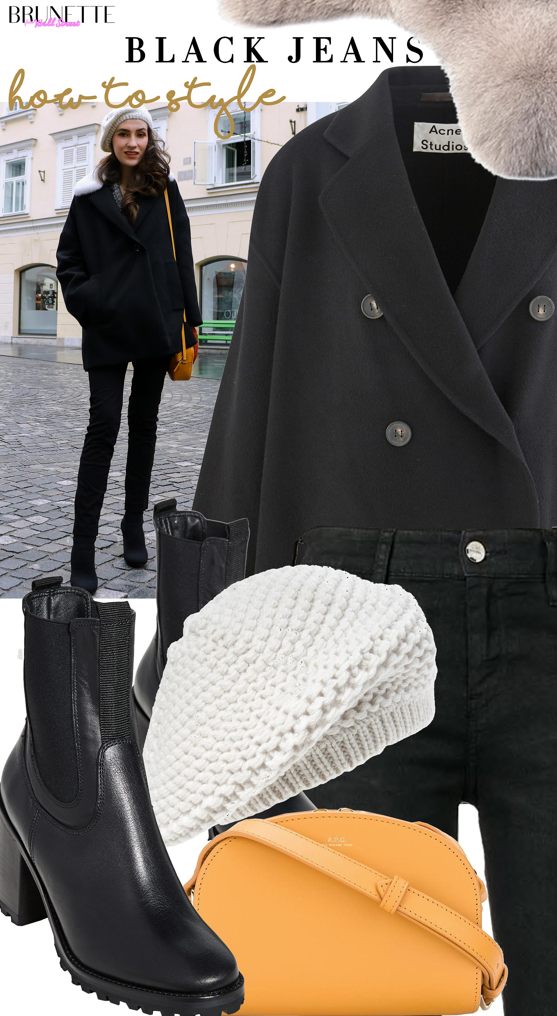 Brunette from Wall Street how to style black denim jeans black short coat lug sole boots white beret yellow crossbody bag
