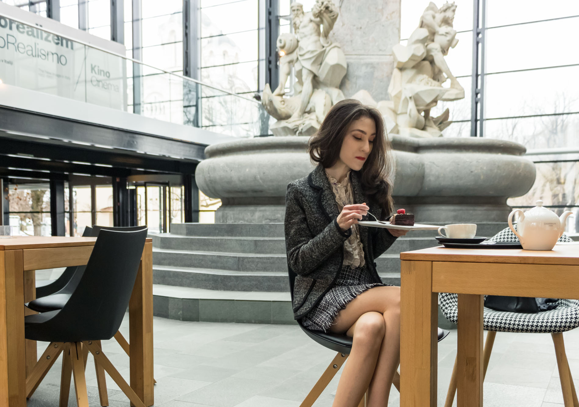 Fashion Blogger Veronika Lipar of Brunette from Wall Street wearing blush Gianvito Rossi Plexi 100 leather and PVC pumps, tweed plaid mini skirt from Storets, black and white Marella tweed jacket while having an afternoon tea
