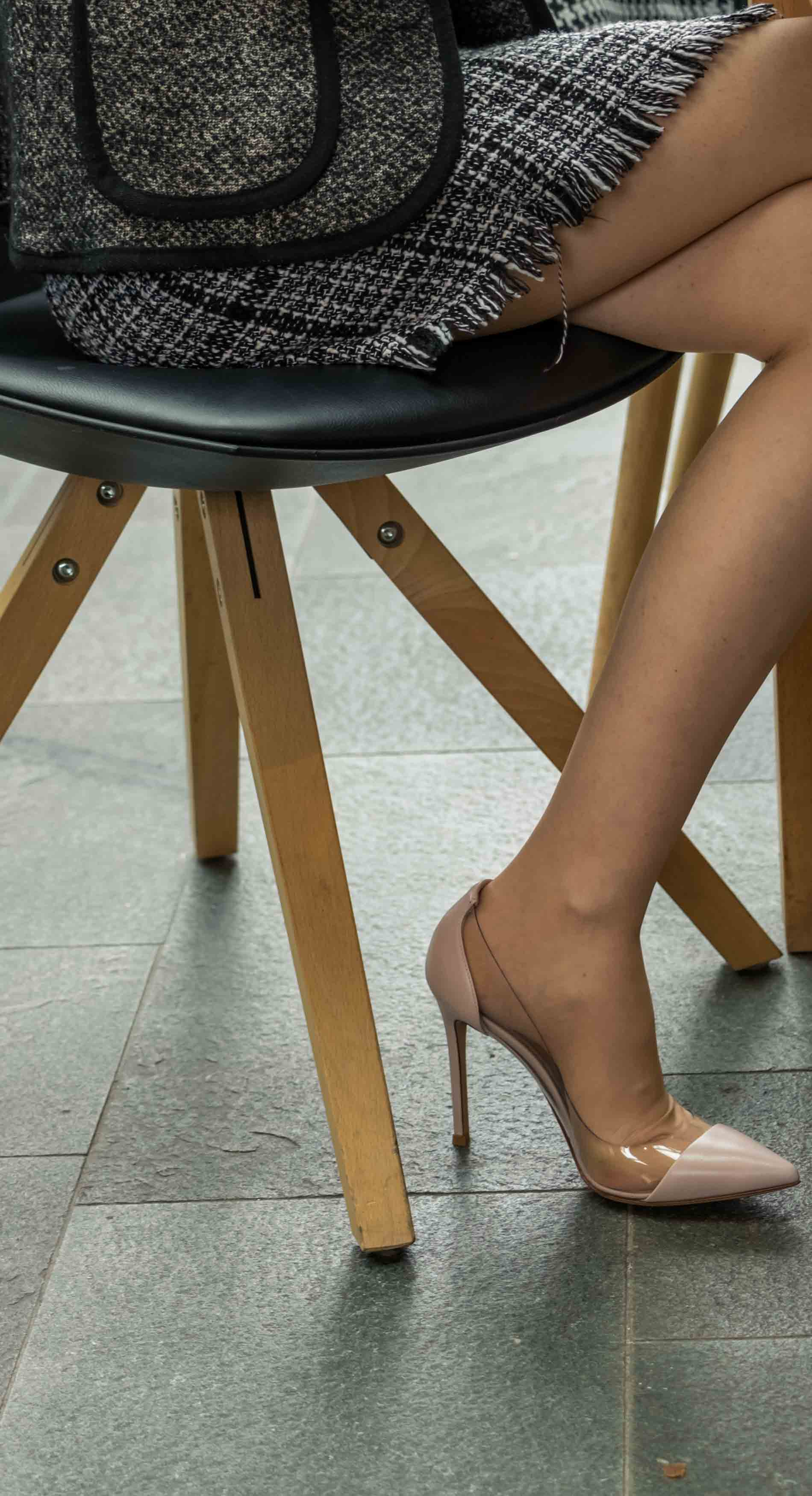 Fashion Blogger Veronika Lipar of Brunette from Wall Street wearing blush Gianvito Rossi Plexi 100 leather and PVC pumps
