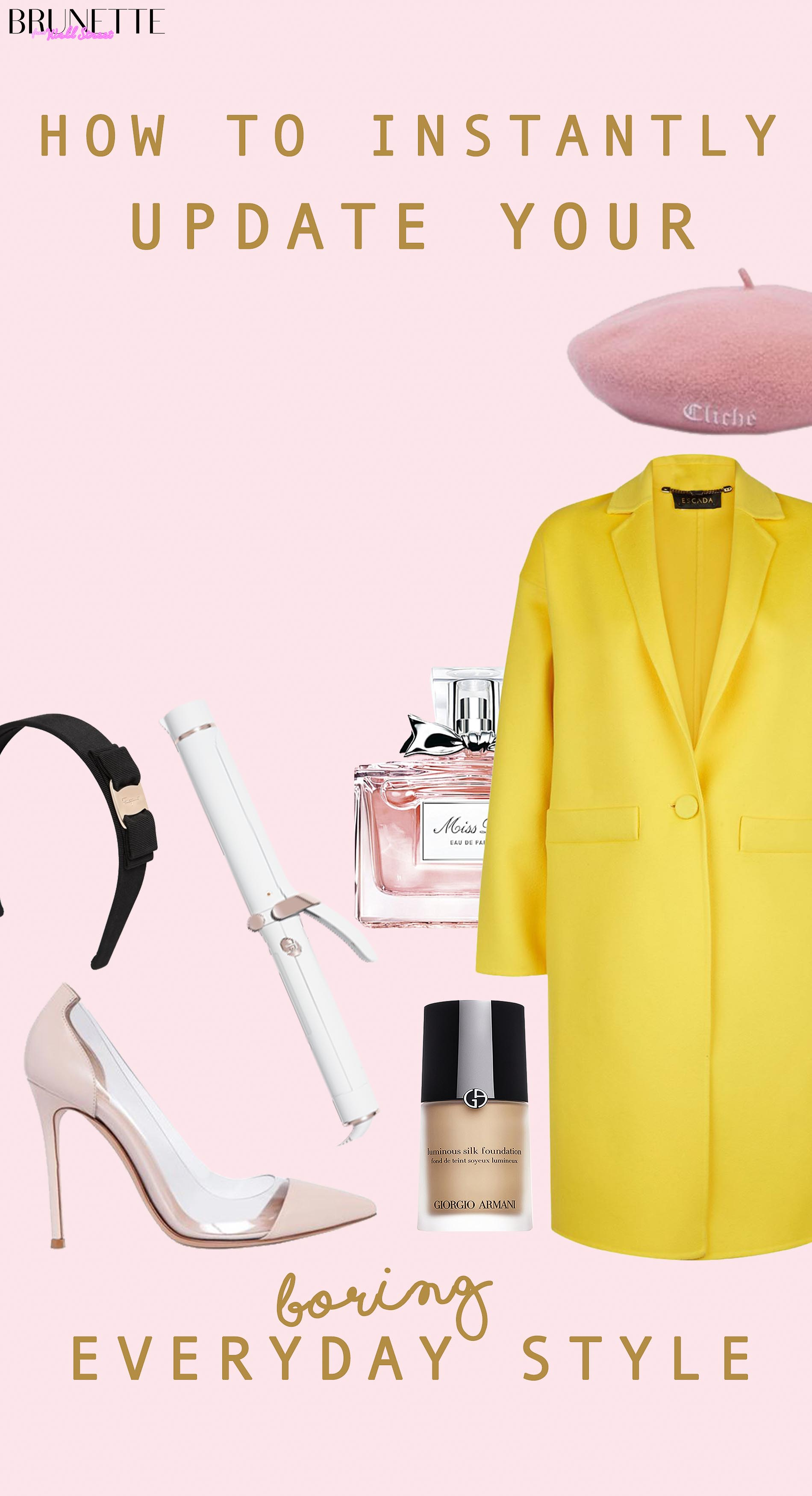 t3 wand, Escad yellow coat, Miss Dior Prefume, Giorgio Armani foundation, plexi heels with text overlay #5 Things that will instantly uplift your everyday outfit