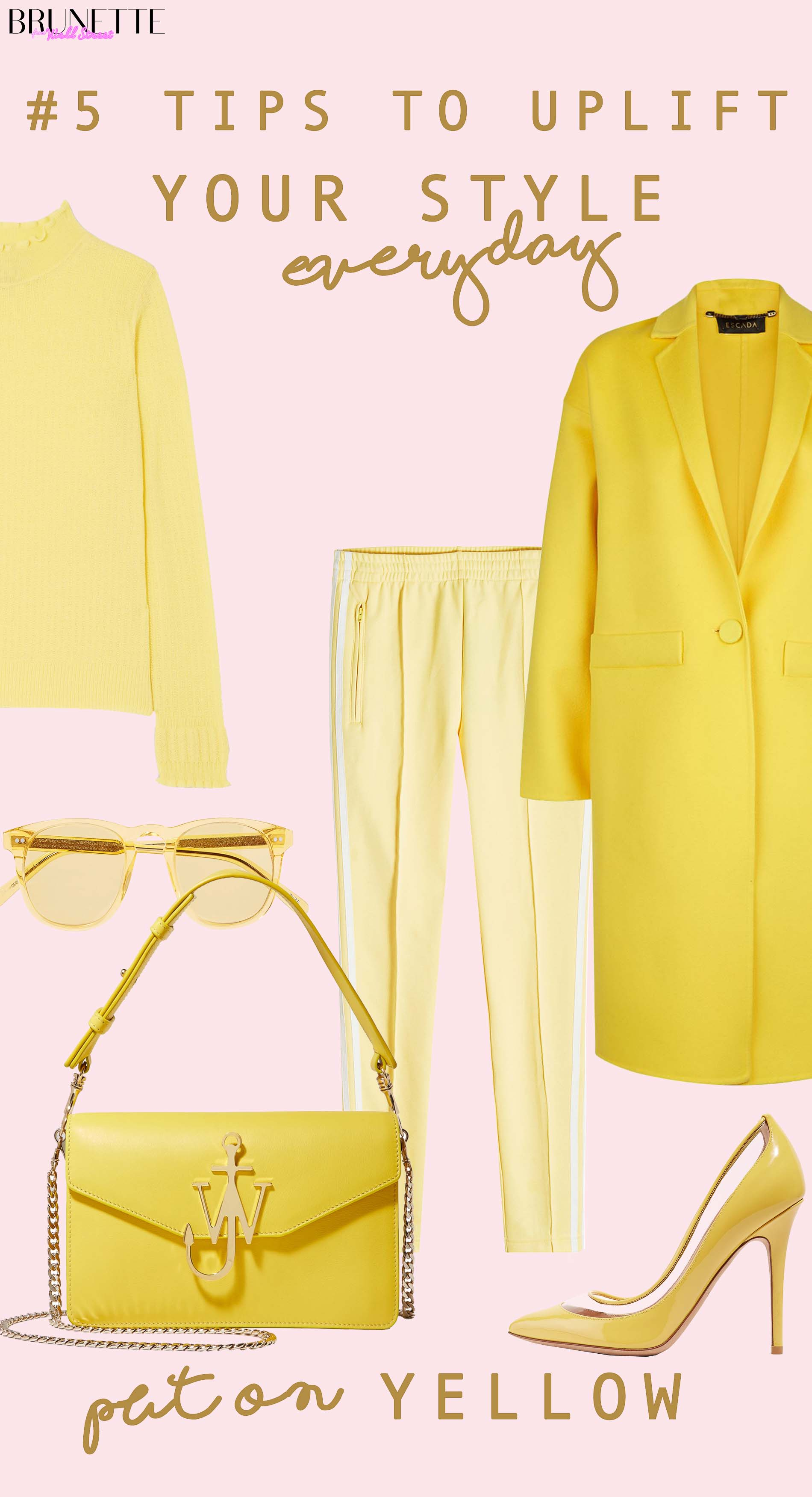 Yellow monochrome outfits with text overlay #5 Things that will instantly uplift your everyday style yellow