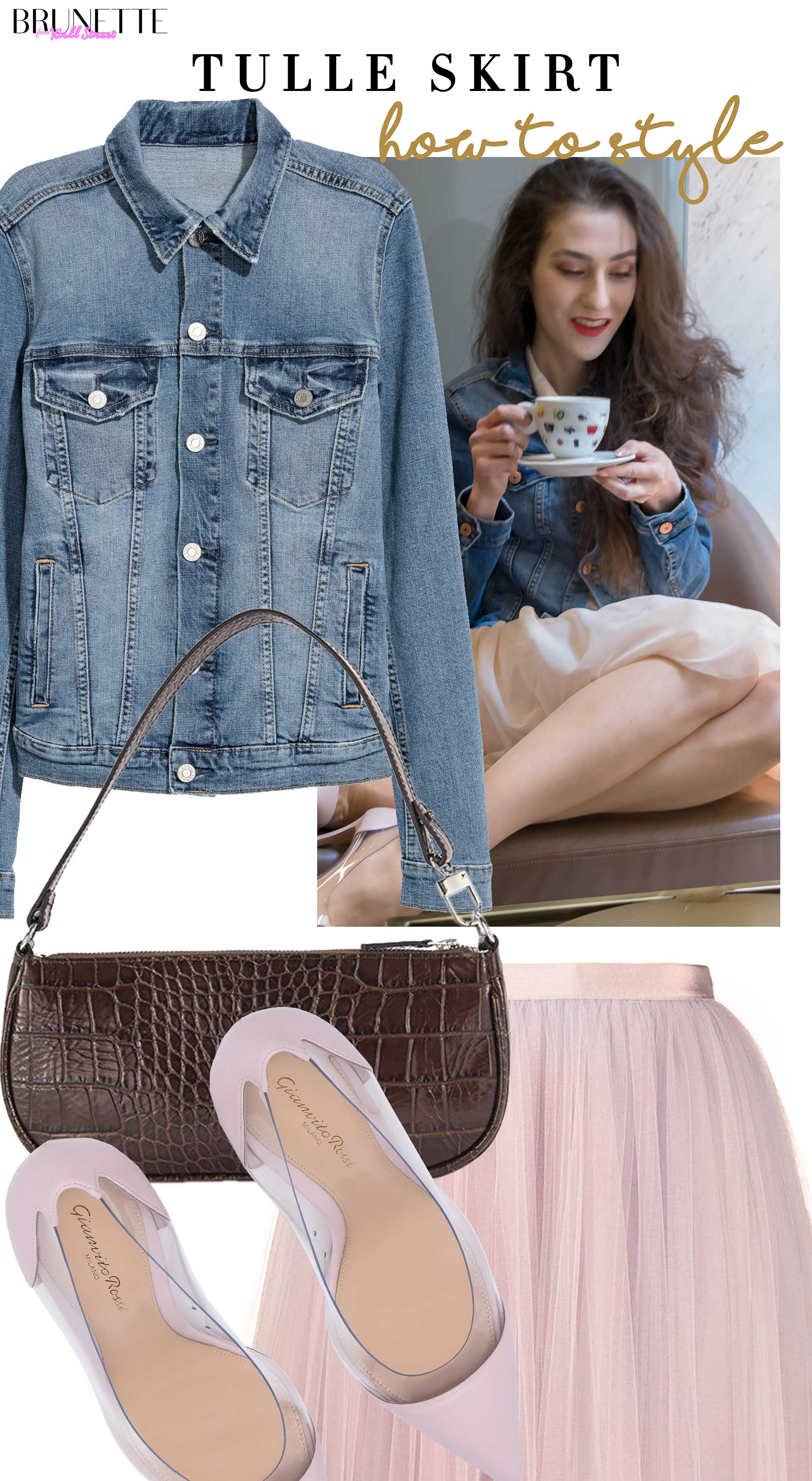 Brunette from Wall Street how to style tulle skirt denim jacket pink plexi Gianvito Rossi pumps by Far shoulder bag for a coffee date