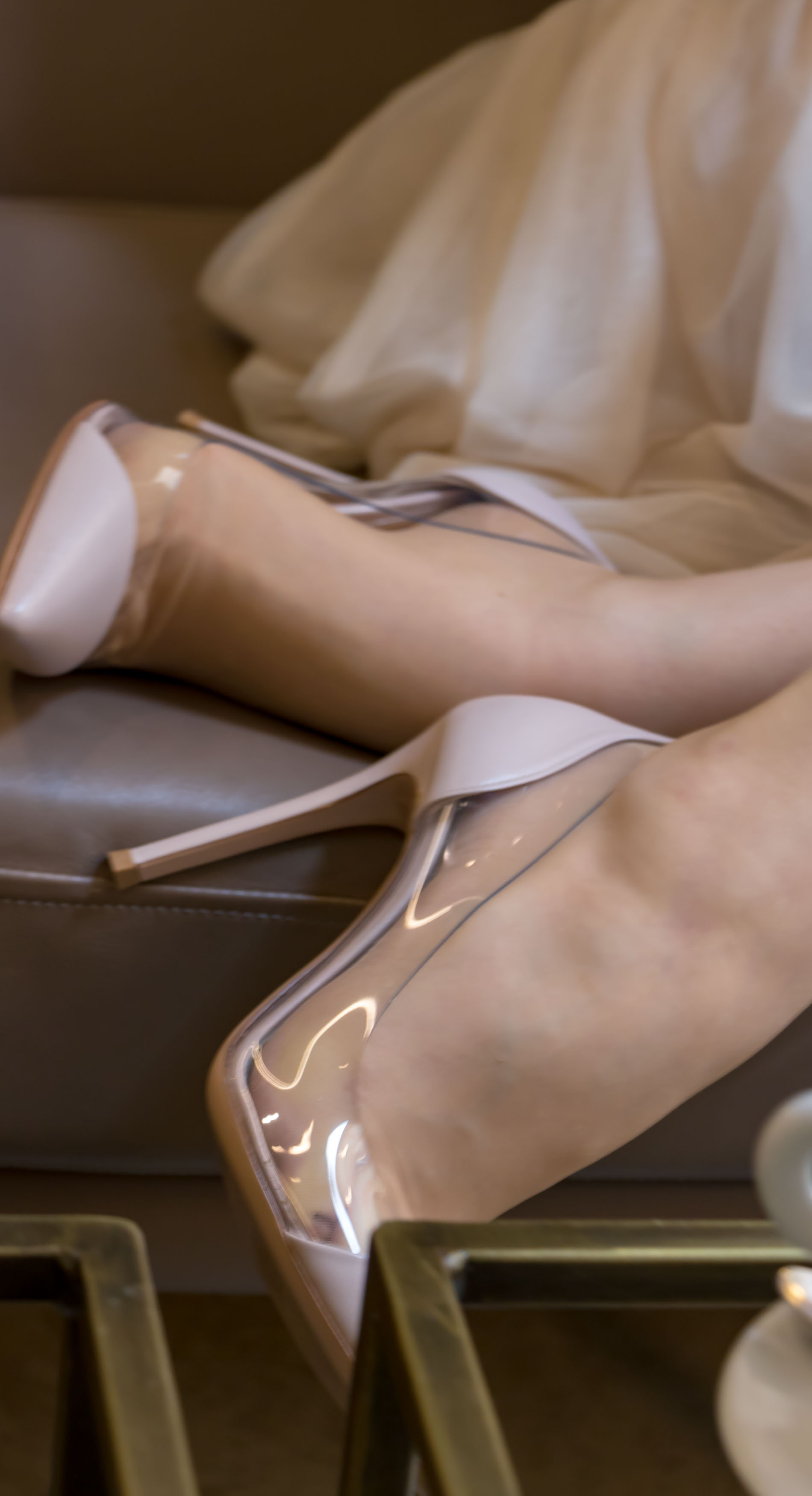 Gianvito Rossi Blush Pink Pumps 100mm Denim covered heel. Pointed denim toe. Transparent sides. Leather sole
