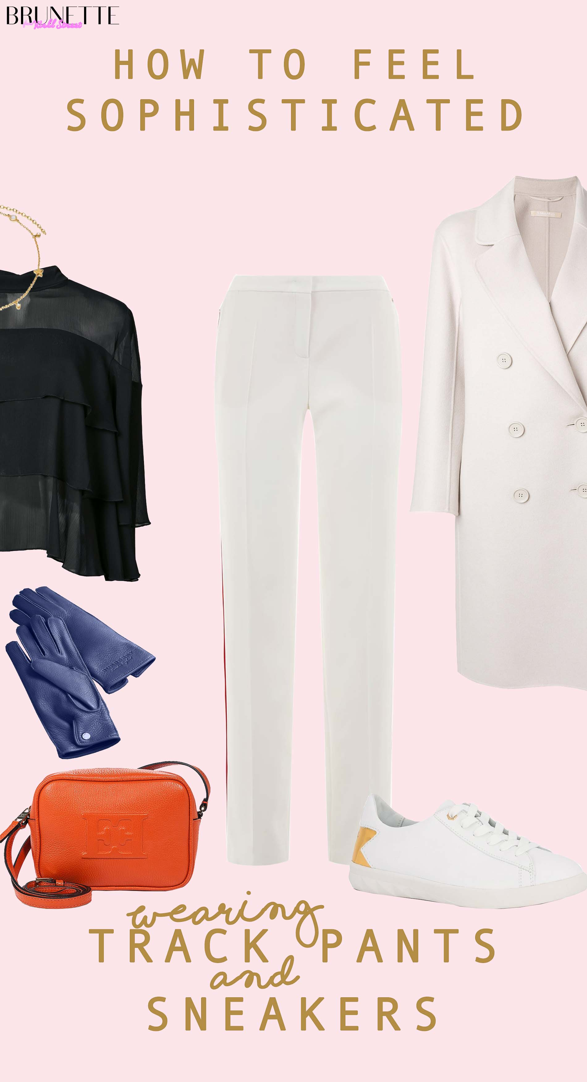 white sporty outfit with text overlay How to Feel Sophisticated wearing Track Pants and Sneakers