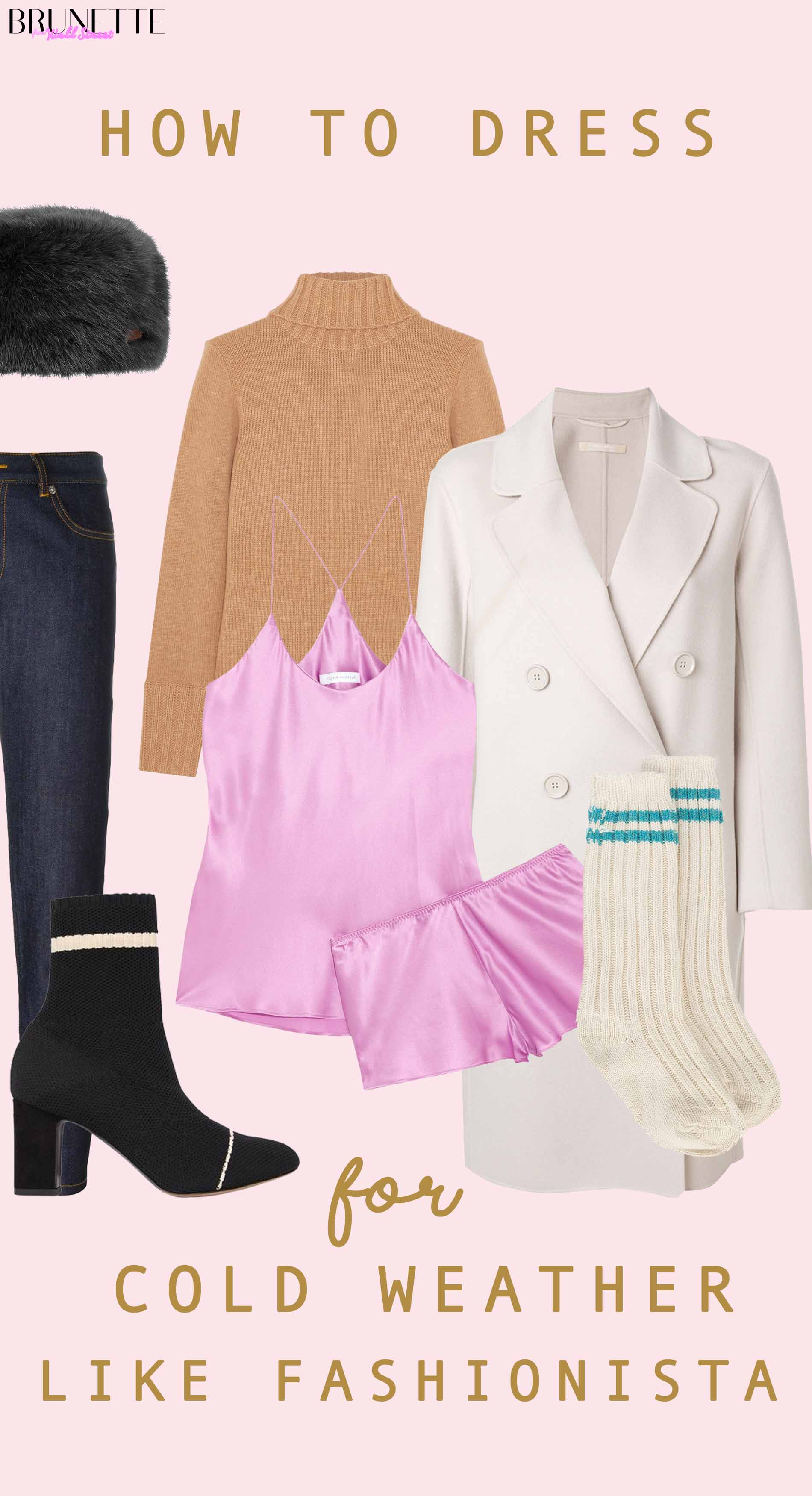 Tabhita sock boots, pink silk underwear, Max Mara coat, hat with text overlay How to dress for cold weather like fashionista