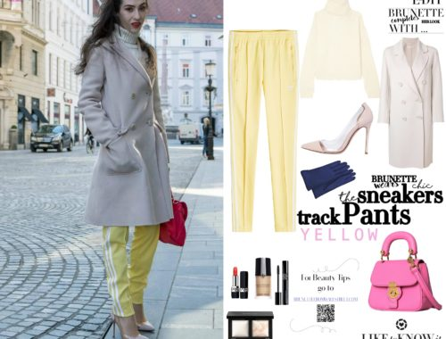 How to style yellow track pants and gianvito rossi plexi pumps