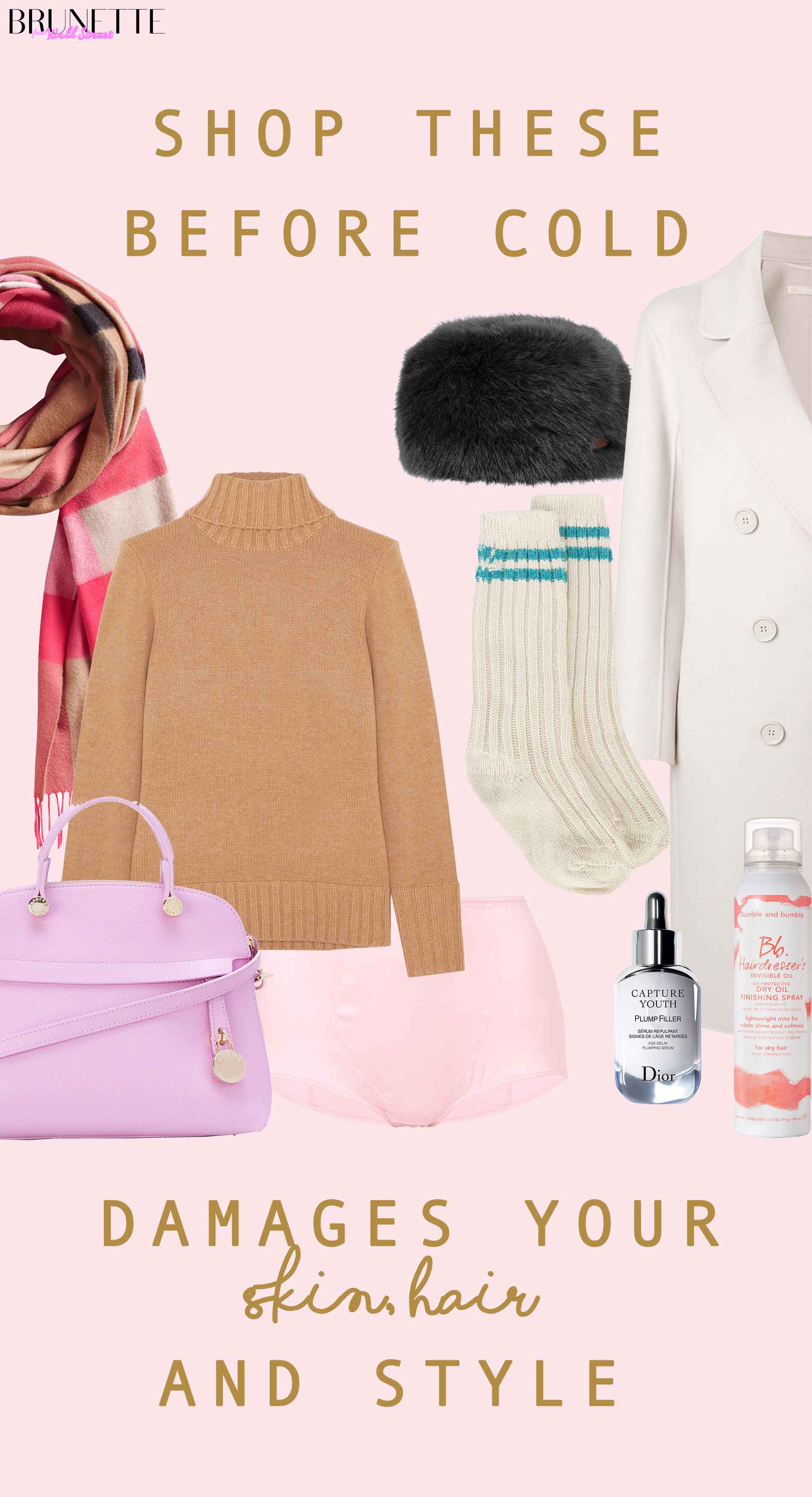 Furla pink tote bag, J.Crew camel sweater, Maxmara coat, Burberry scarf, Dior serum with text overlay Shop these before cold damages your skin, hair ansd style