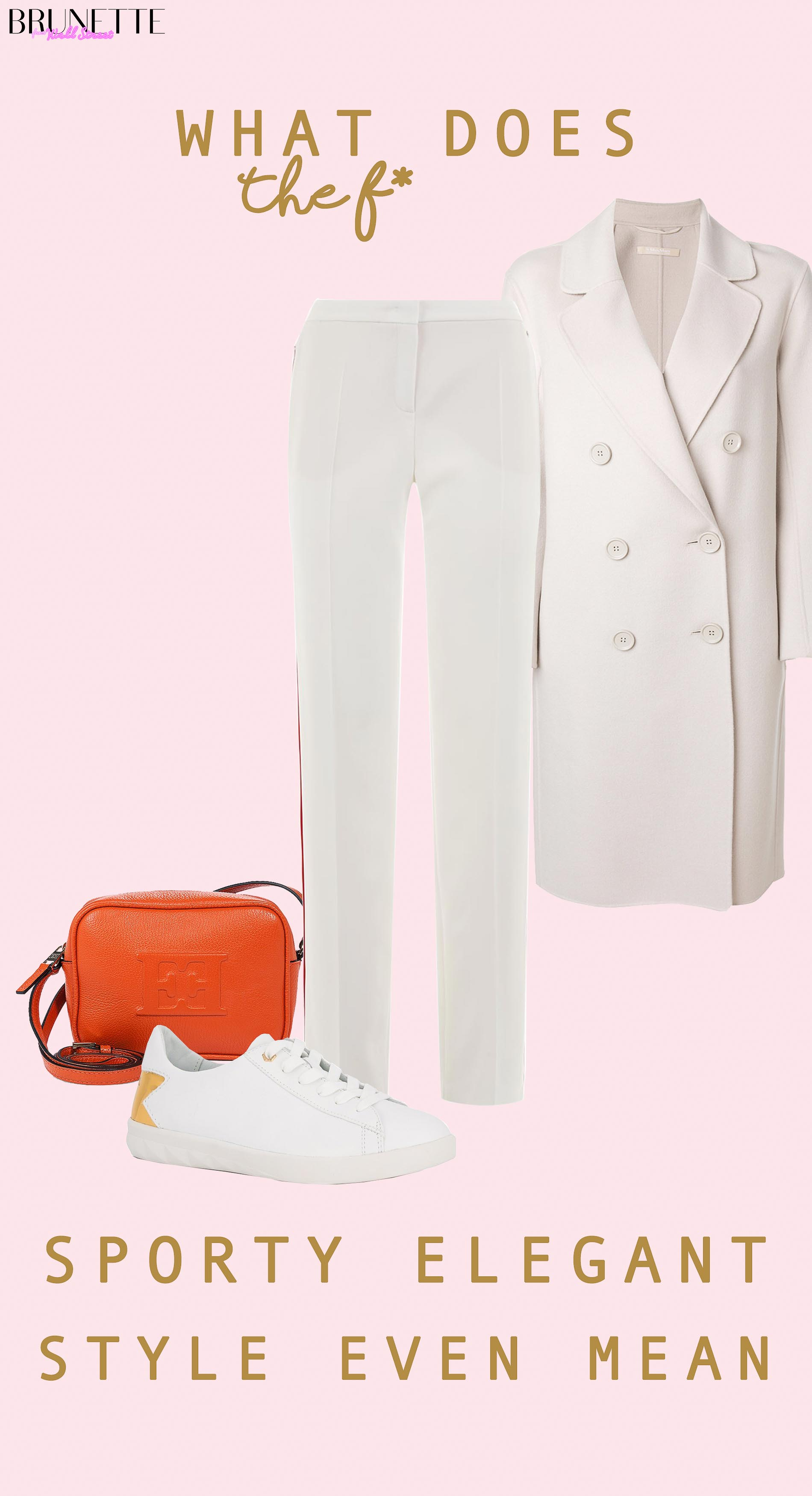 White track pants, orange shoulder bag from Escada, white Diesel sneakers, white Max Mara coat with text o overlay What does sporty elegant style even mean