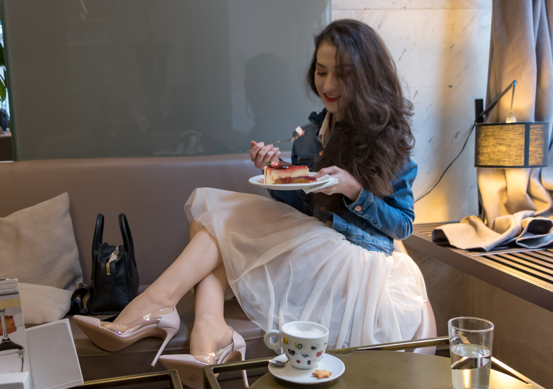 Fashion Blogger Veronika Lipar of Brunette from Wall Street dressed in blush Gianvito Rossi Plexi 100 leather and PVC pump shoes, blush tulle Zara skirt, blue denim jacket from H&M for a coffee date with her girl friends