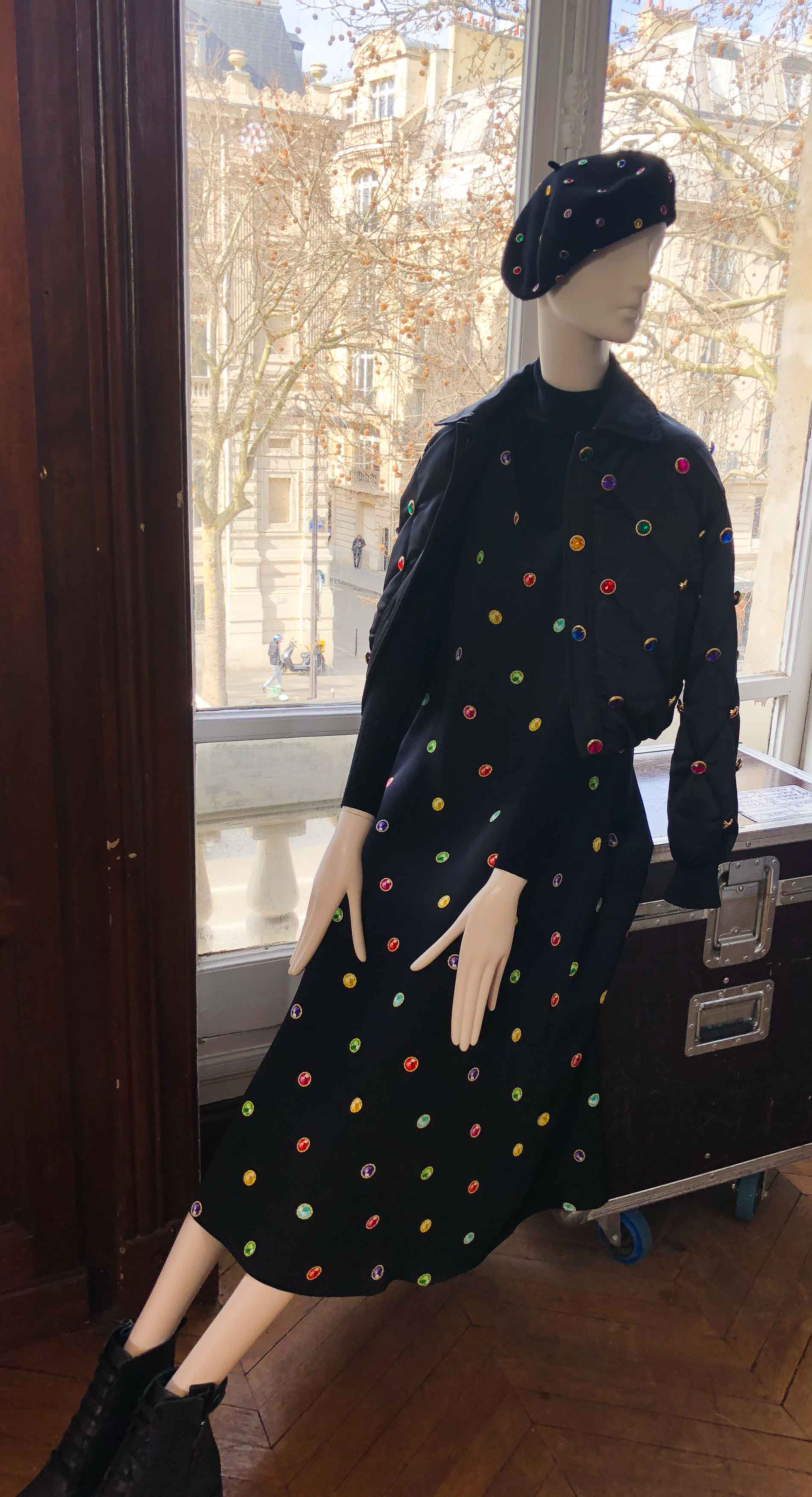 Fashion Blogger Veronika Lipar of Brunette from Wall Street sharing photo of Escada autumn winter 2018/19 ready to wear collection from Paris fashion week showroom
