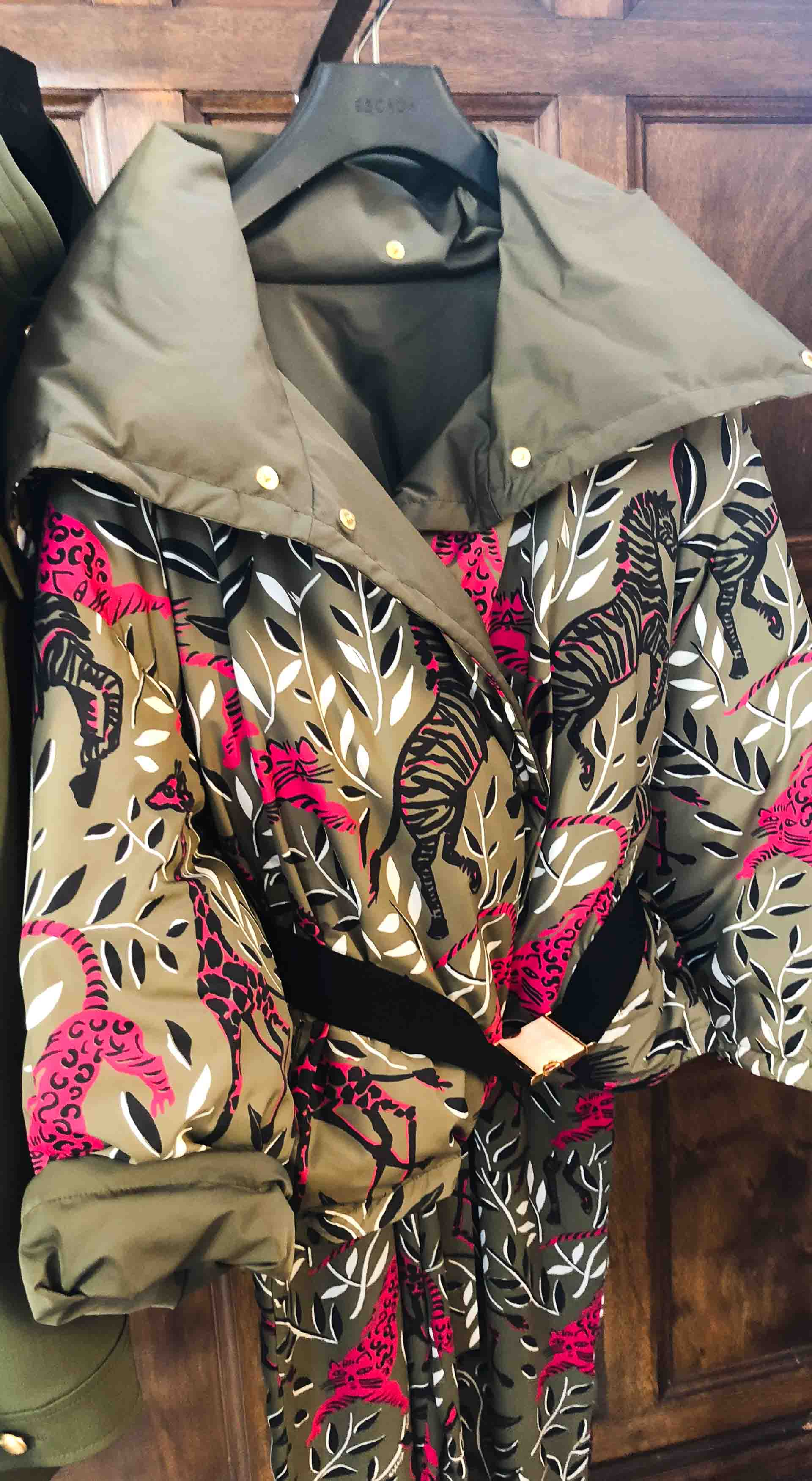 Brunette from Wall Street Escada Safari print jacket