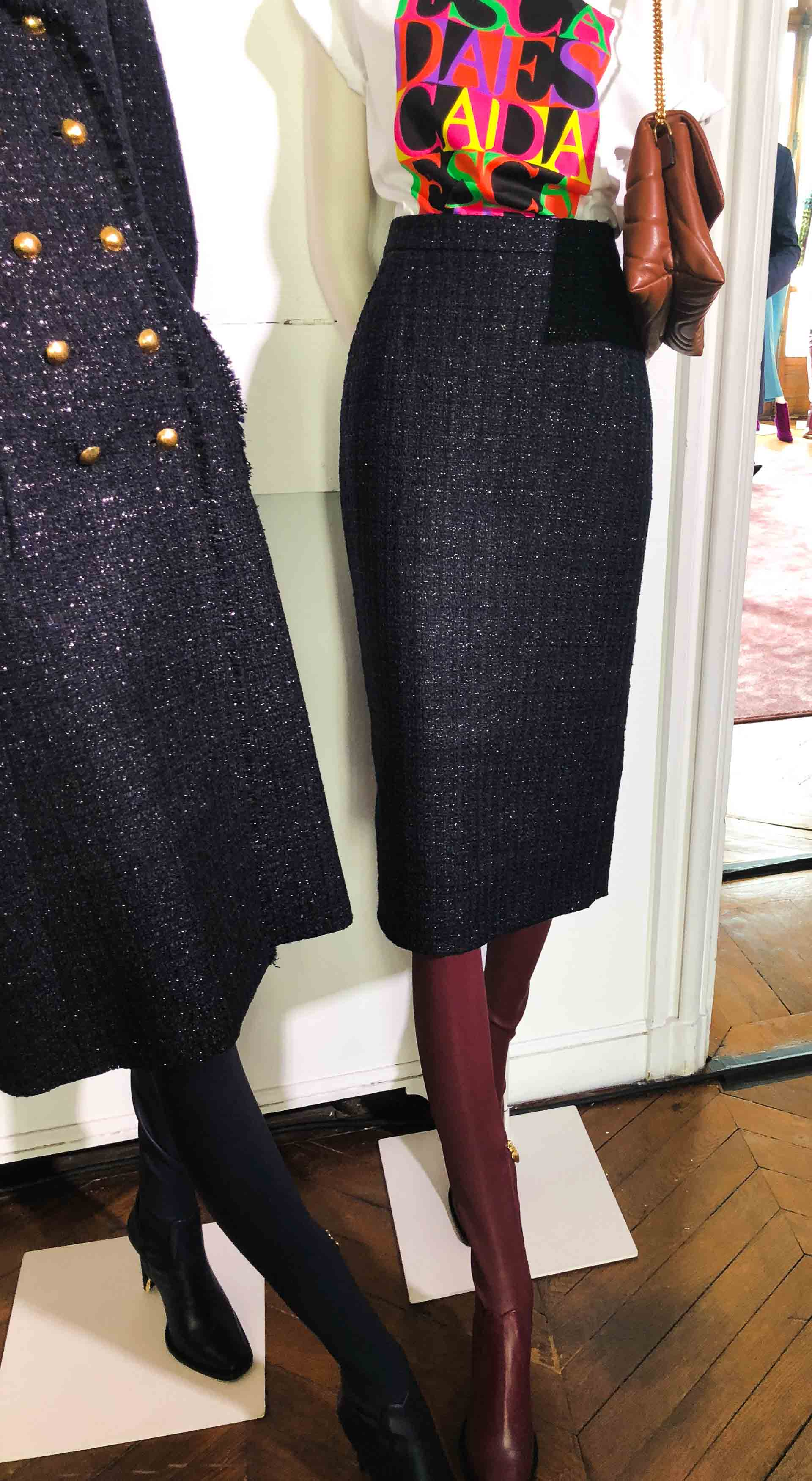 Brunette from Wall Street Escada black tweed pencil skirt