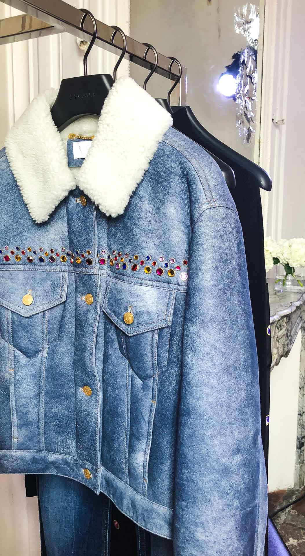 Brunette from Wall Street Escada embellished shearling denim jacket