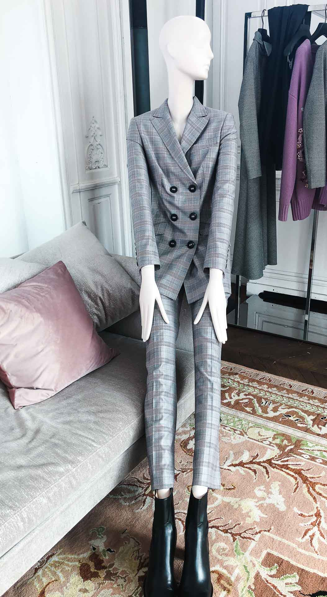 Brunette from Wall Street Escada grey palid suit