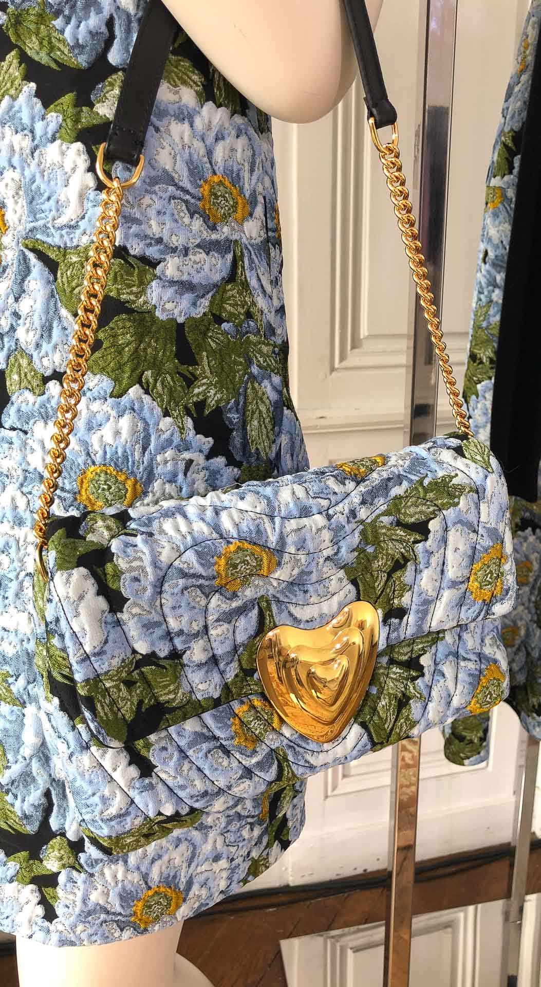 Brunette from Wall Street Escada heart floral chain flap bag