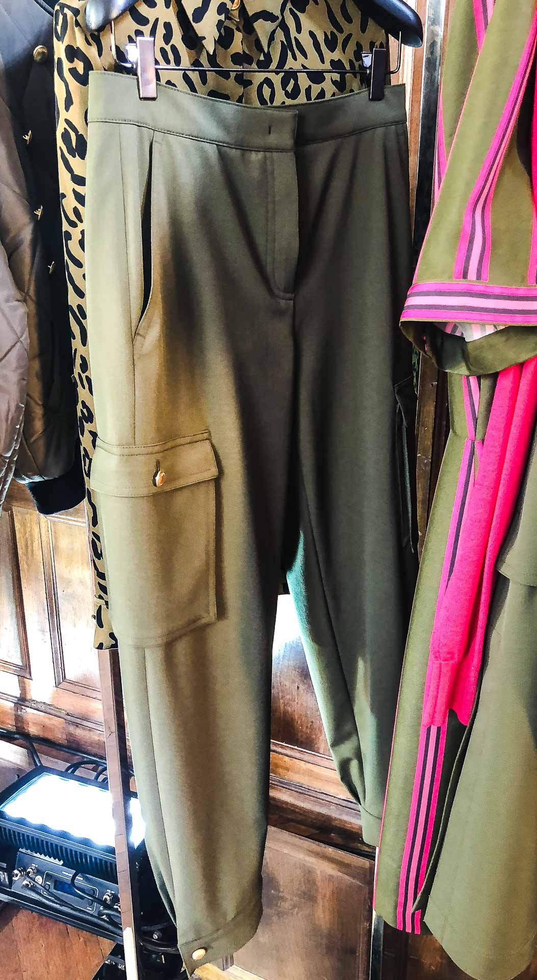 Brunette from Wall Street Escada khaki caro pants