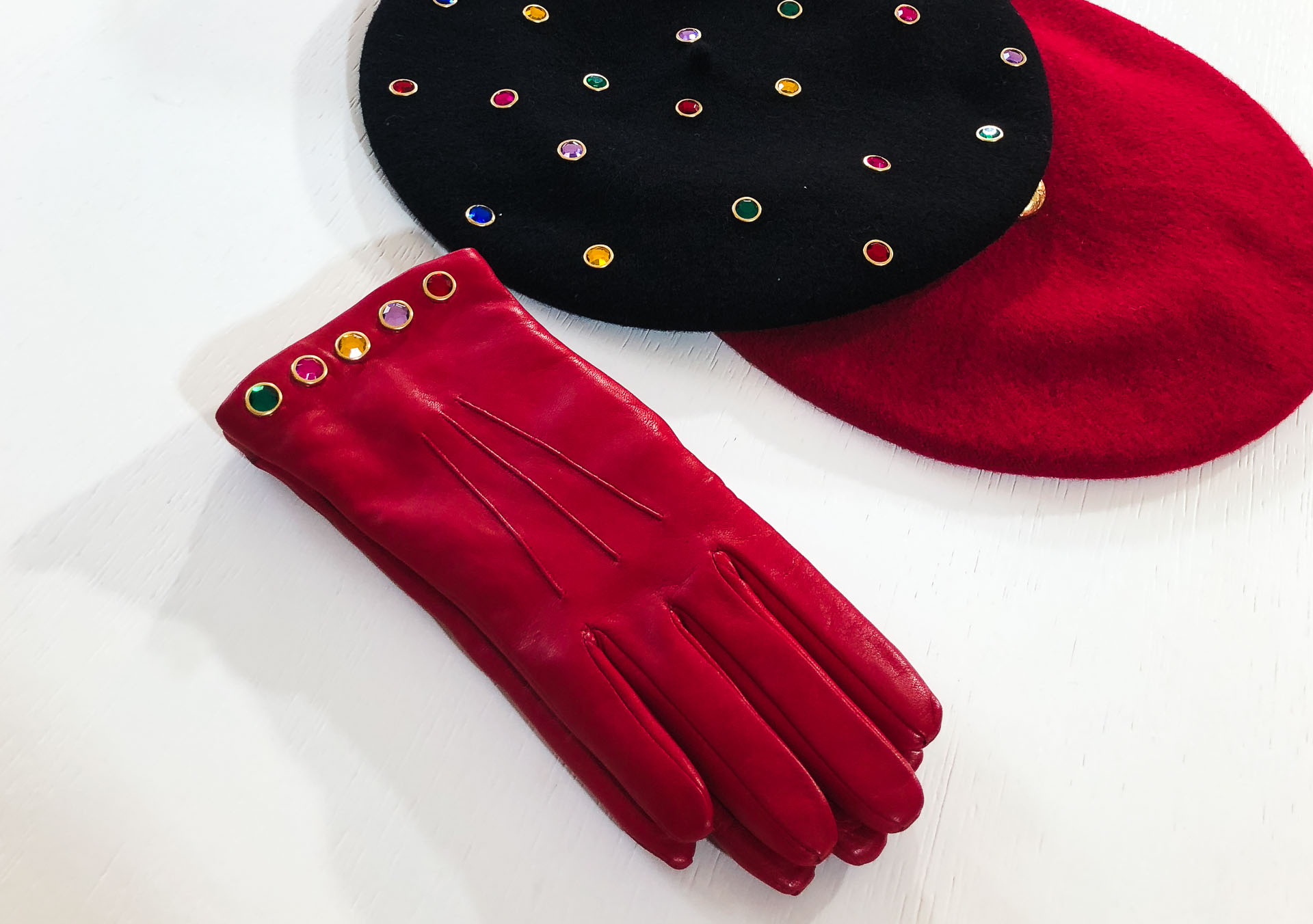 Brunette from Wall Street Escada leather gloves and beret