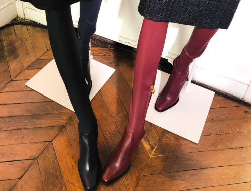 Brunette from Wall Street Escada over the knee boots