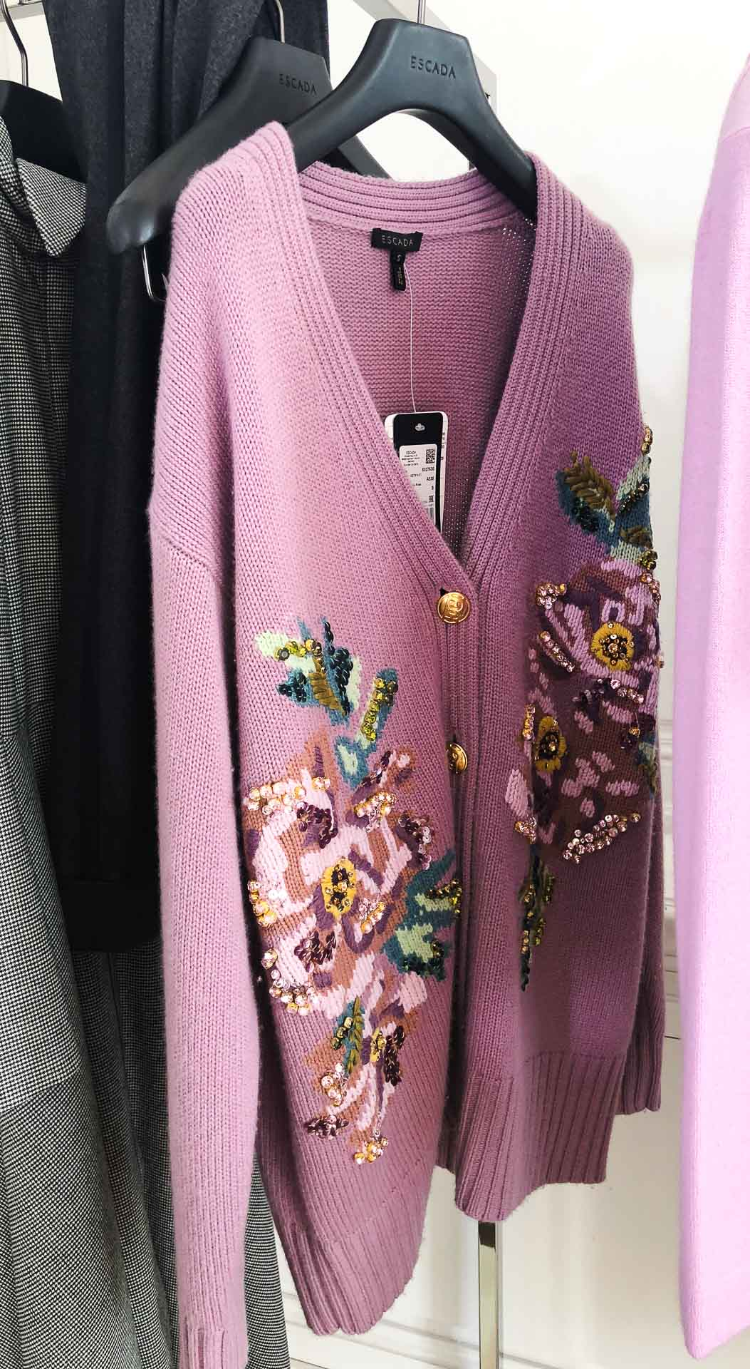 Brunette from Wall Street Escada pink floral cardigan