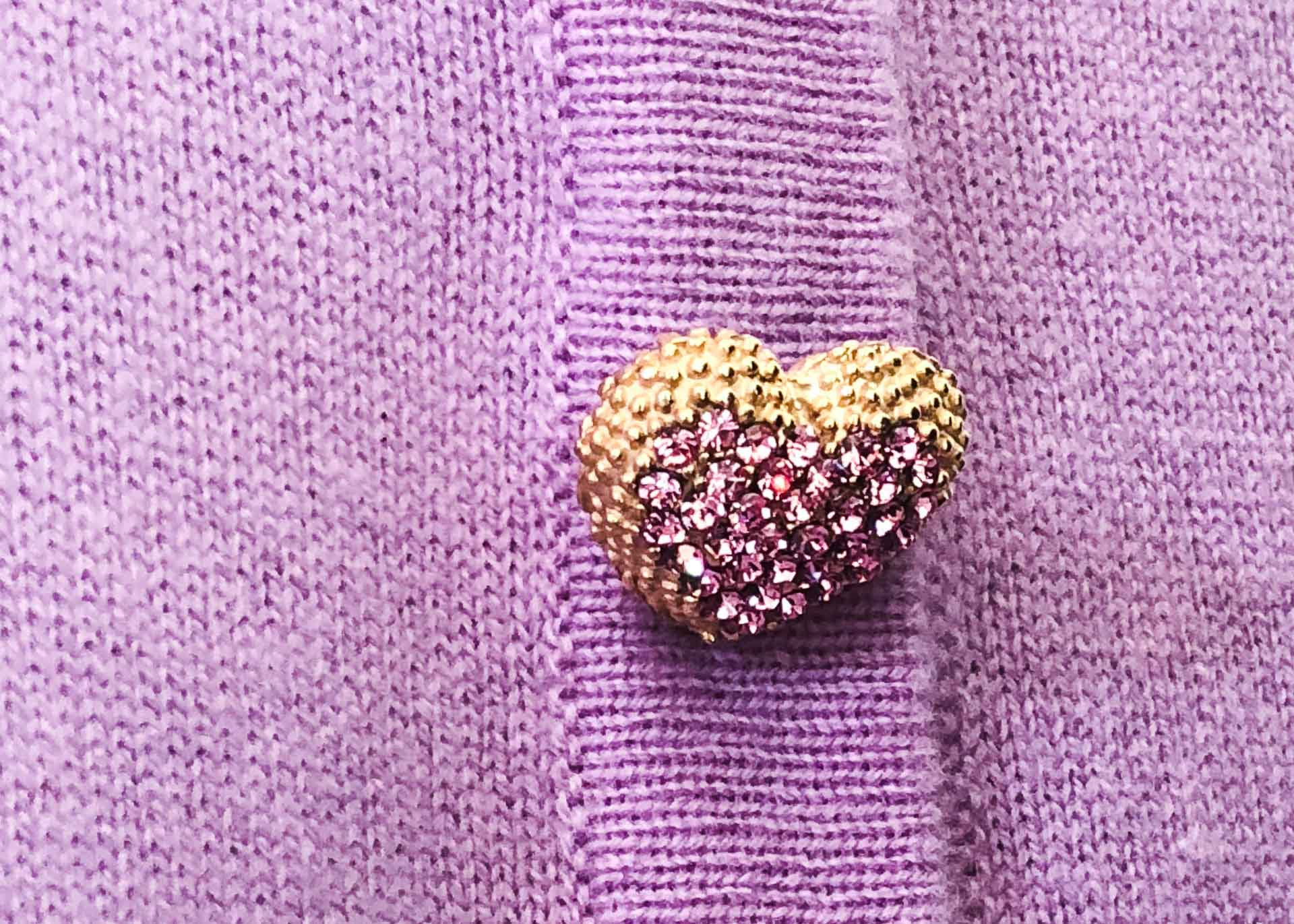 Brunette from Wall Street Escada pink heart button
