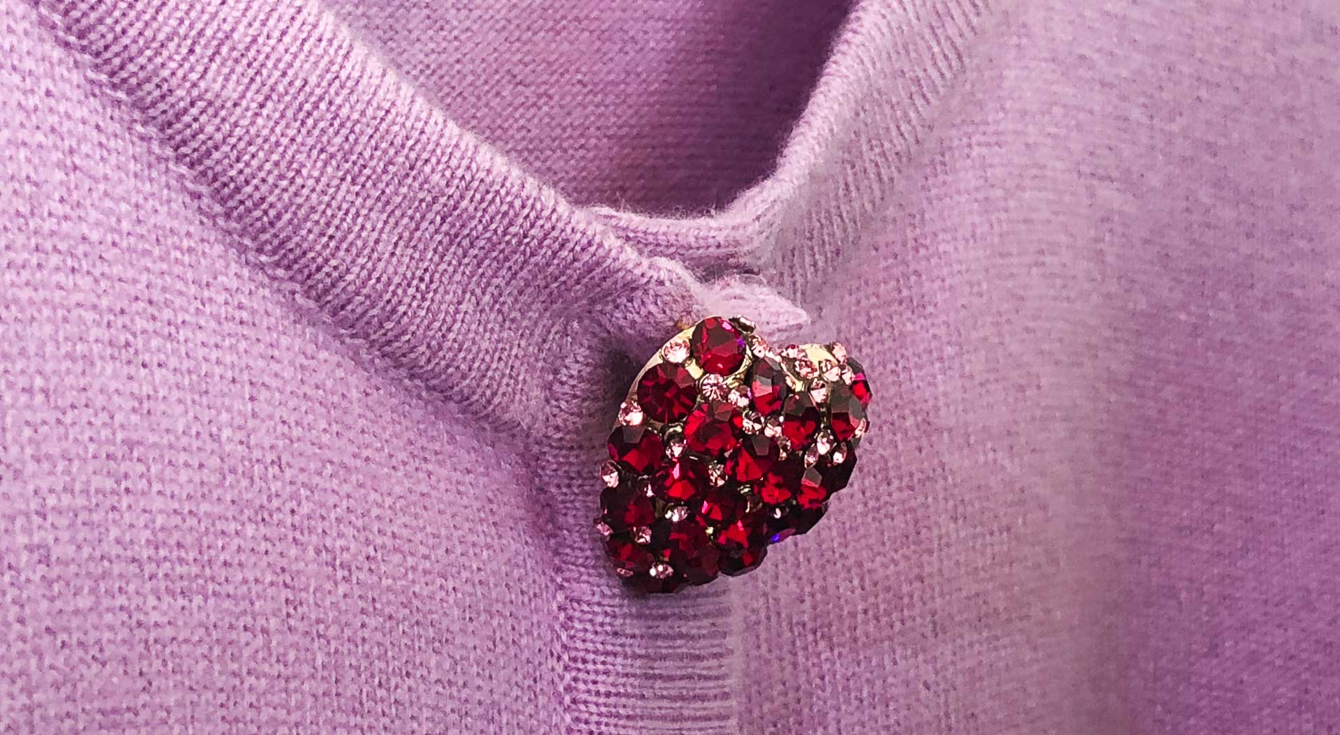 Brunette from Wall Street Escada red heart button