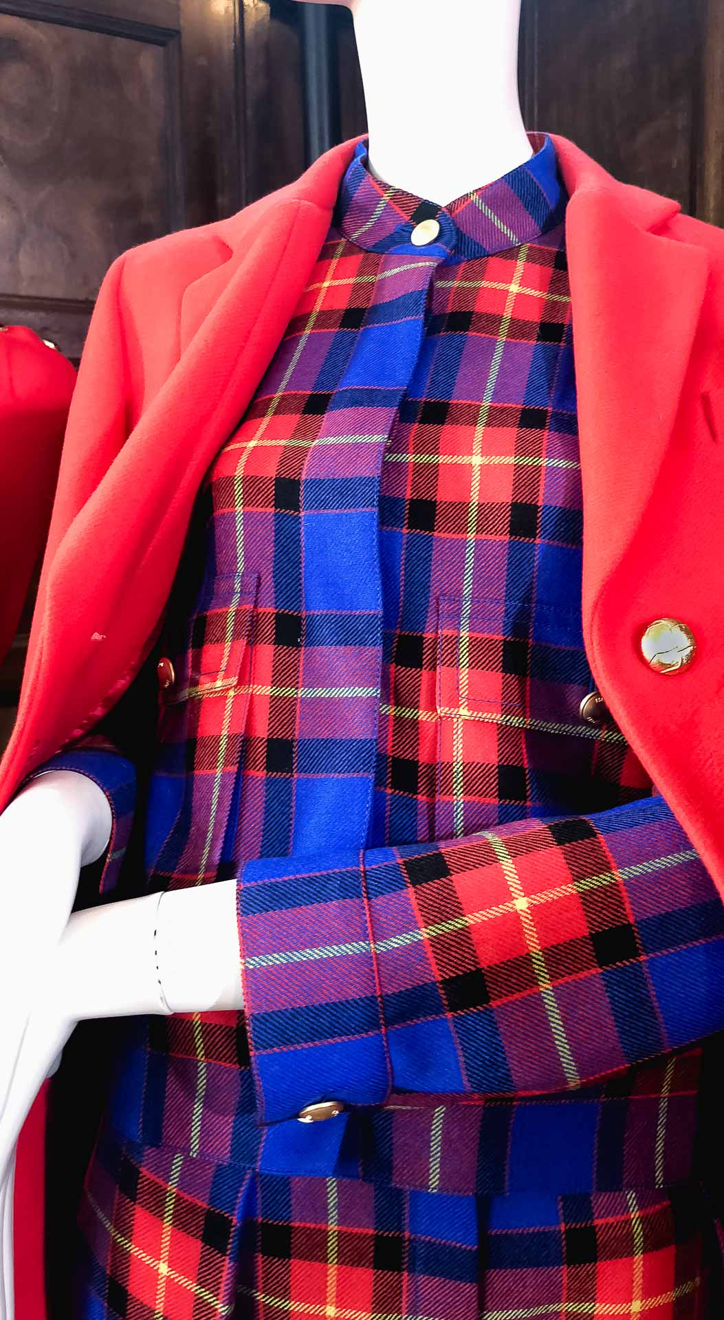 Brunette from Wall Street Escada tartan printed midi dress red coat