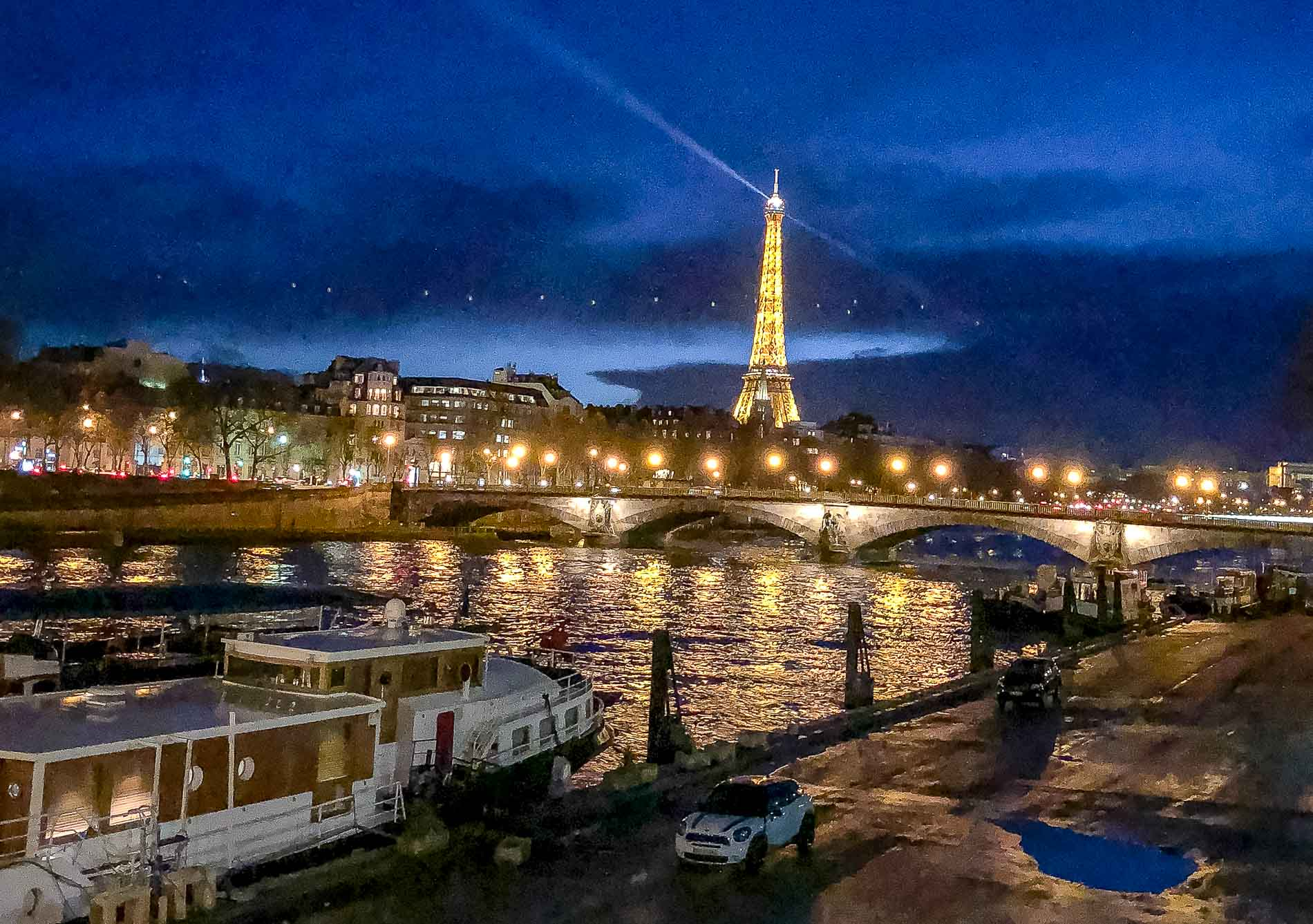 Fashion Blogger Veronika Lipar of Brunette from Wall Street sharing photos of Paris Eiffel Tower at night she took in between the shows during Fall Winter 2018/19 Paris Fashion Week