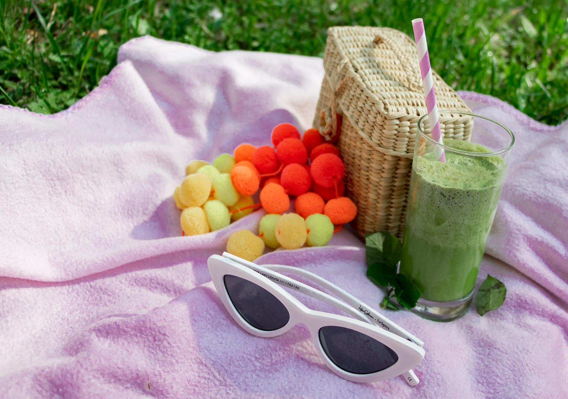 Spring picnic Nannacay basket bag Le Specs sunglasses