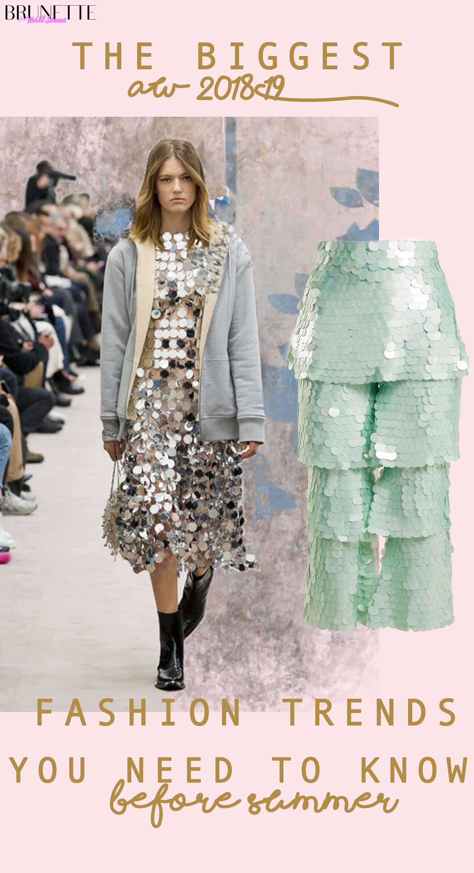 Sequin pants and Paco Rabanne runway photo with text overlay The biggest AW 2018-19 Fashion Trends You Need to Know before summer