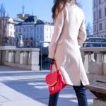 Fashion Blogger Veronika Lipar of Brunette from Wall Street wearing chic business casual outfit, Gianvito Rossi plexi pumps, dark A.P.C. tapered jeans, off white Weekend Max Mara coat, pink top handle bag from See by Chloe for work in spring