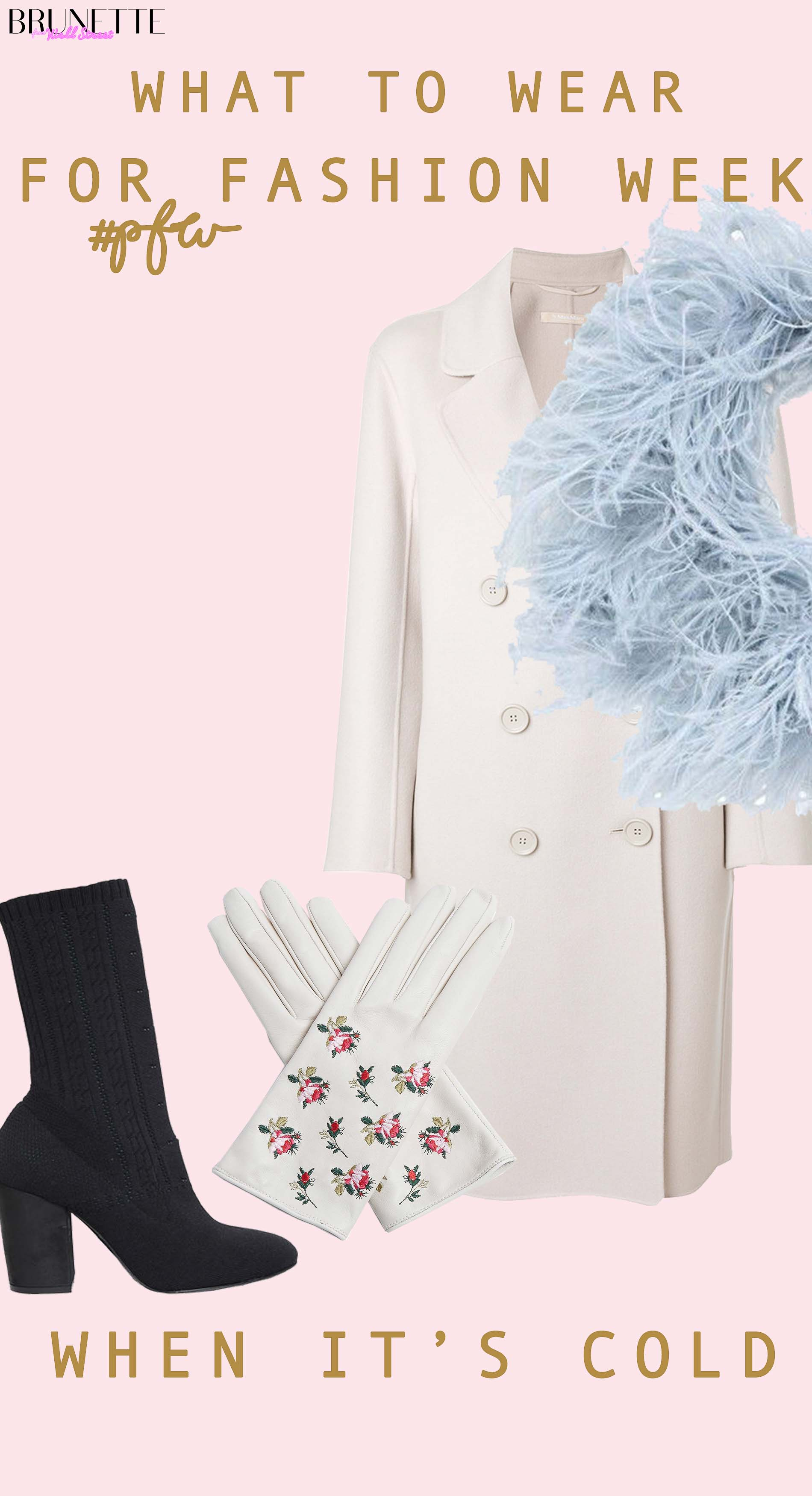 Weekend MAxmara coat, sock boots, feathers and leather gloves with text overlay What to wear for fashion week when it's cold
