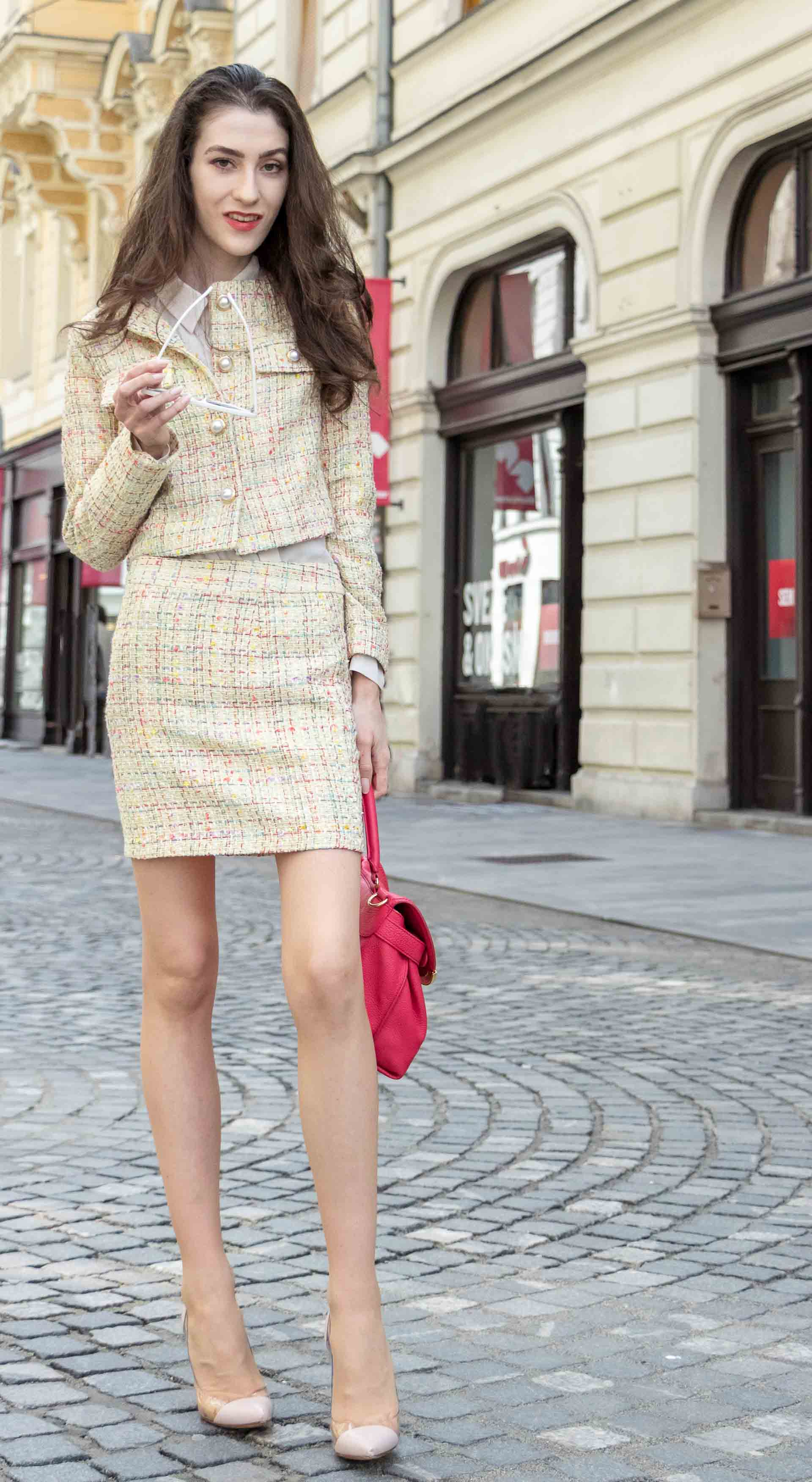 Fashion Blogger Veronika Lipar of Brunette from Wall Street wearing Storets yellow tweed mini skirt suit, Gianvito Rossi plexi pumps, See by Chloe pink top handle bag, Adam Selman x Lespecs white Lolita sunglasses for doctor's appointment