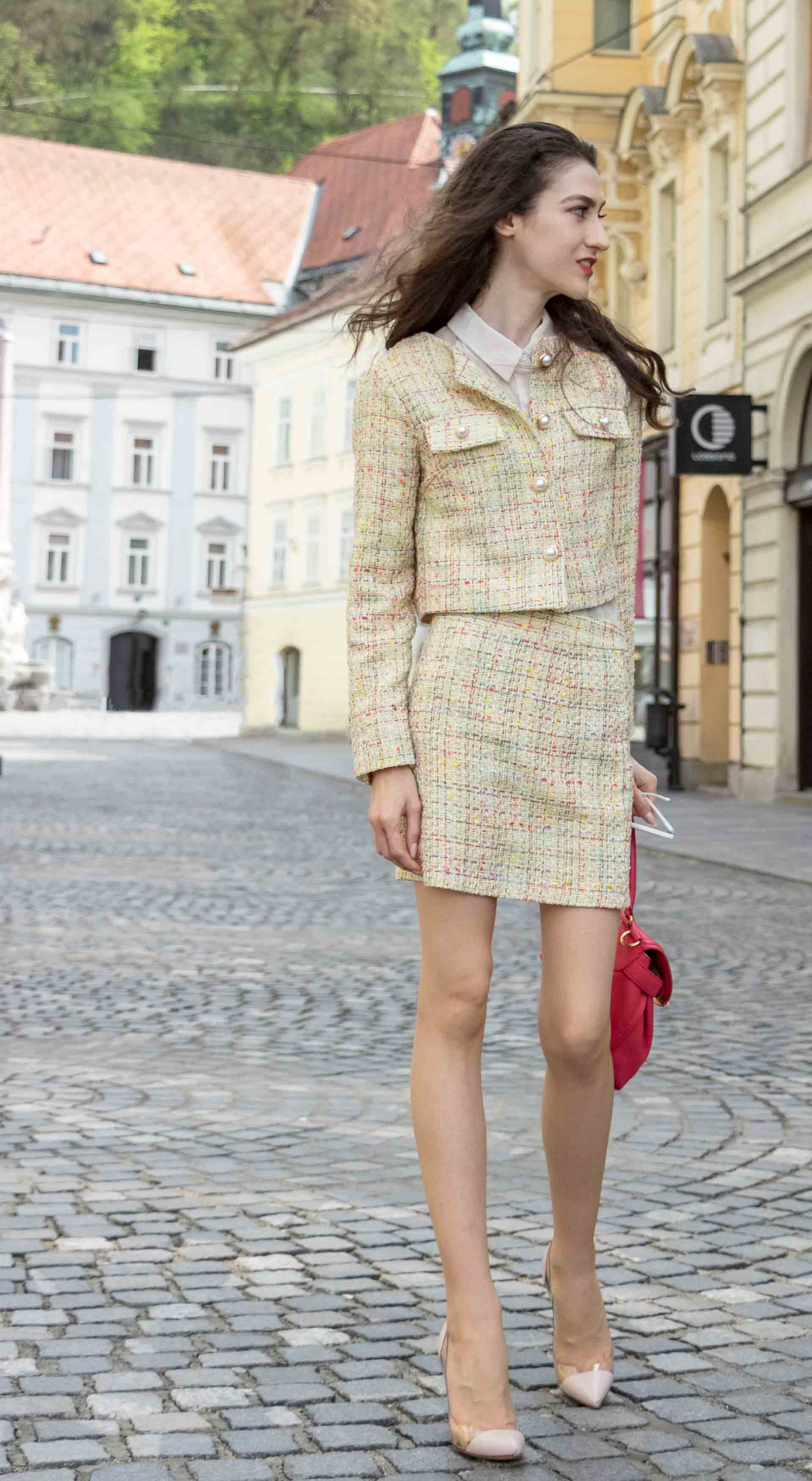 Fashion Blogger Veronika Lipar of Brunette from Wall Street wearing Storets yellow tweed mini skirt suit, Gianvito Rossi plexi pumps, See by Chloe pink top handle bagfor spring brunch