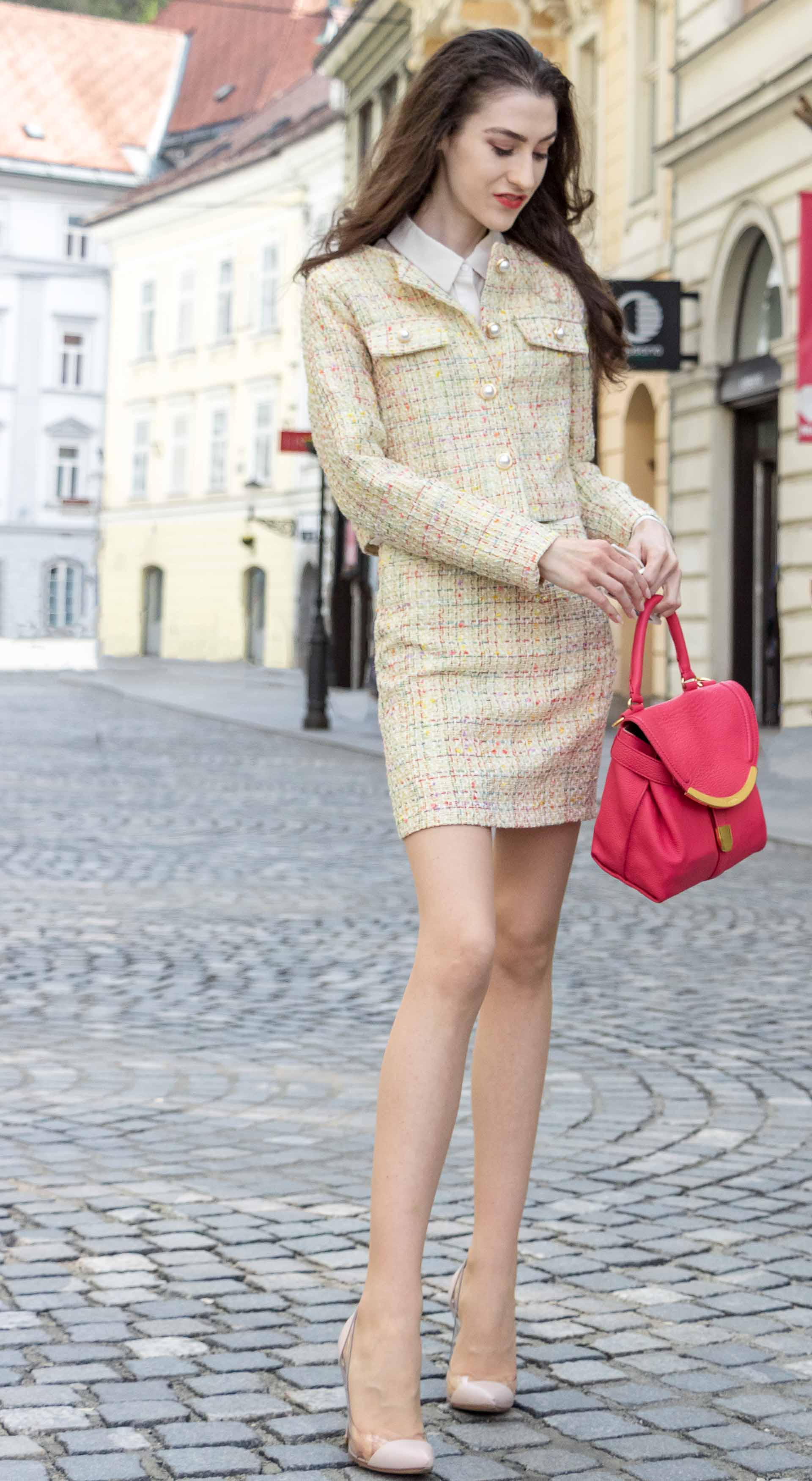 Fashion Blogger Veronika Lipar of Brunette from Wall Street dressed in Storets yellow tweed mini skirt suit, Gianvito Rossi plexi pumps, See by Chloe pink top handle bag for spring brunch